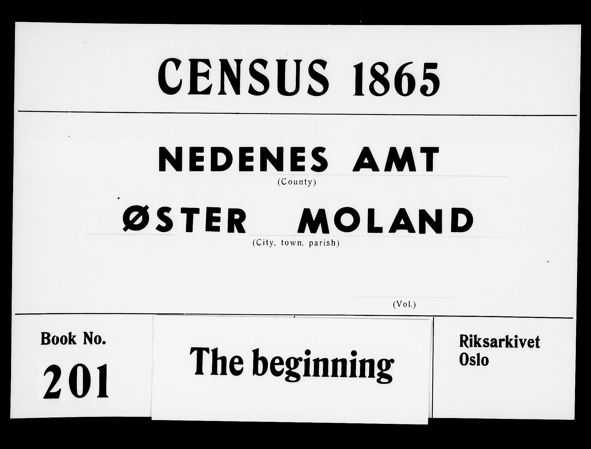 RA, Folketelling 1865 for 0918P Austre Moland prestegjeld, 1865, s. 1