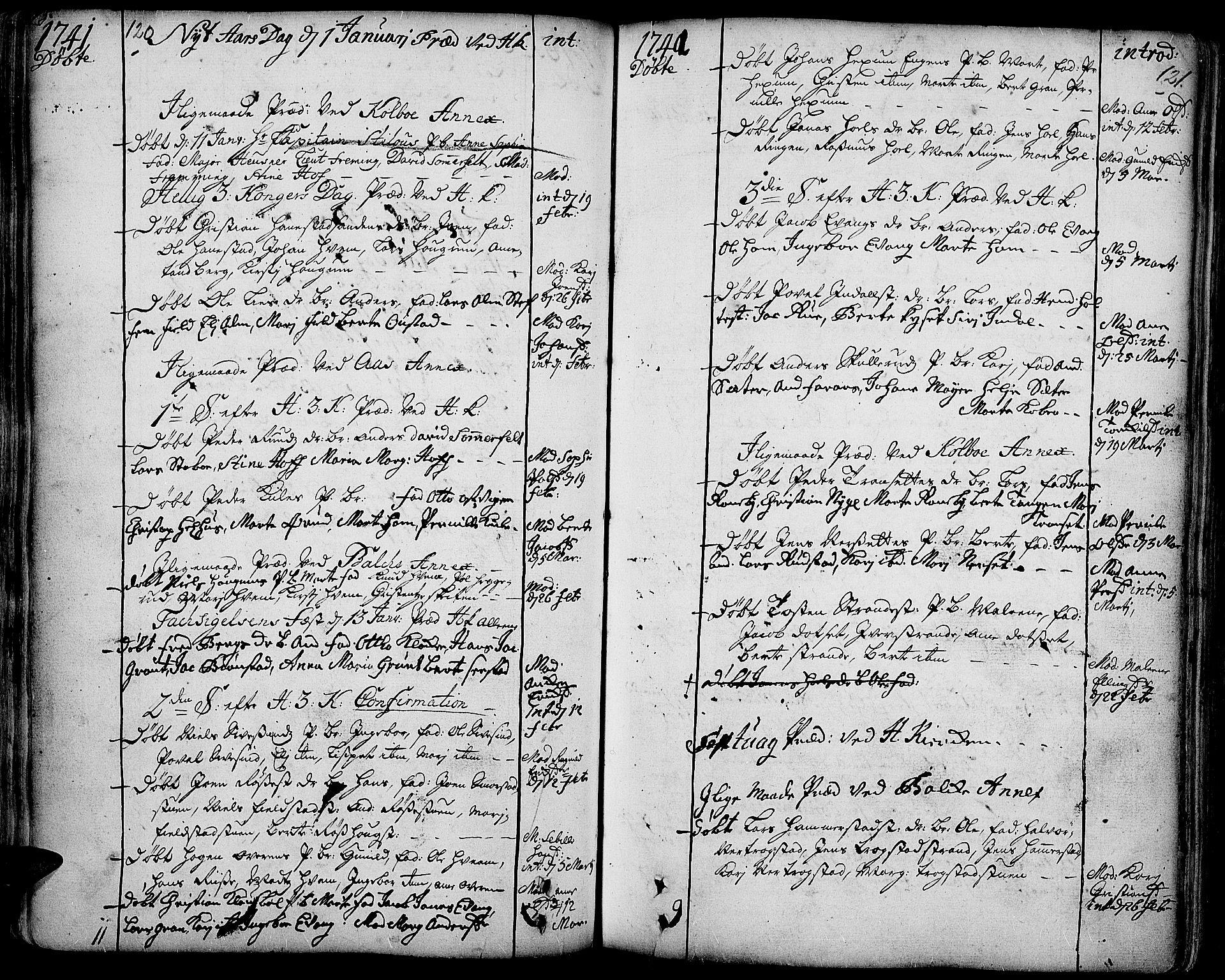 SAH, Toten prestekontor, Ministerialbok nr. 3, 1734-1751, s. 120-121