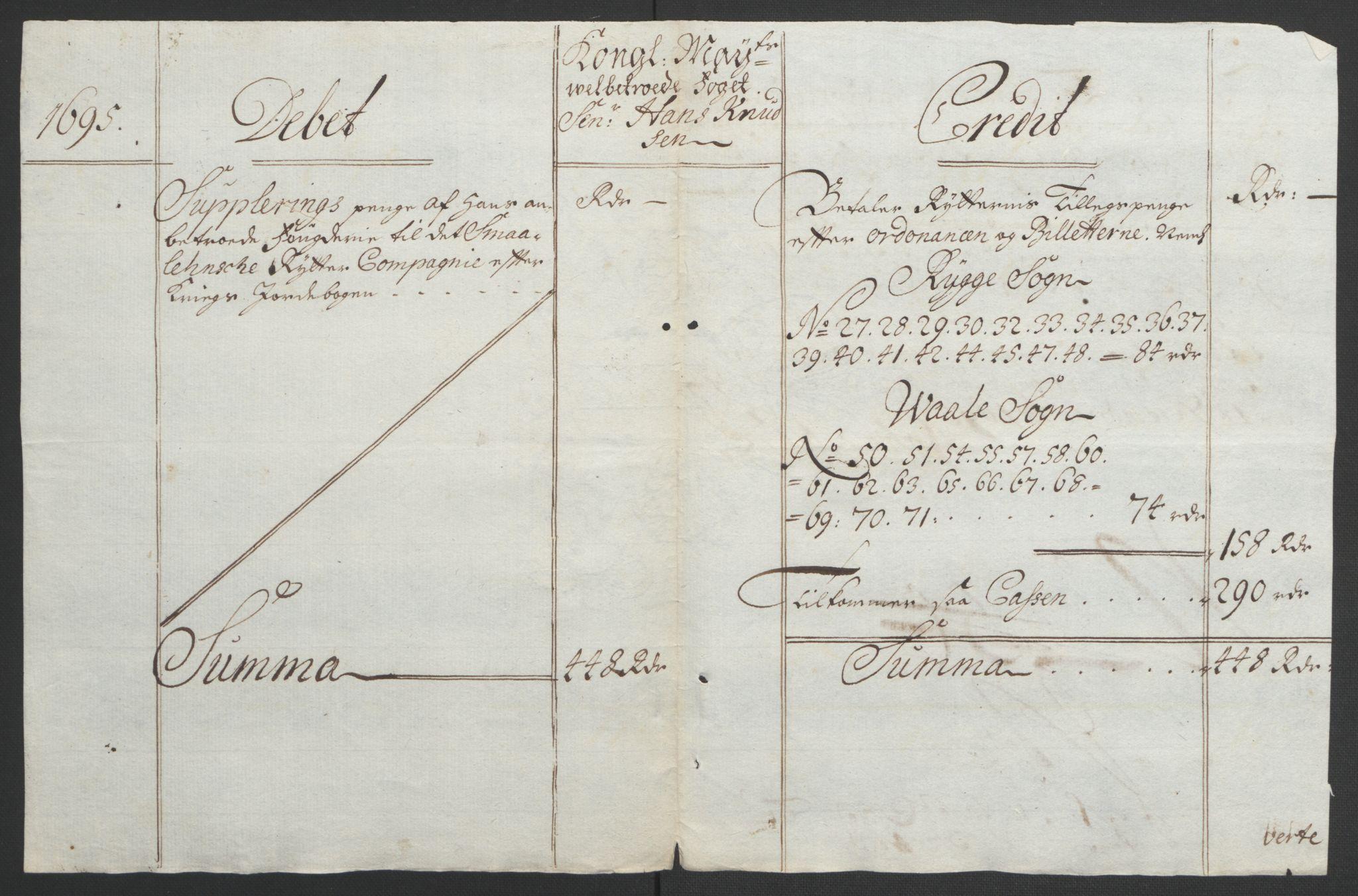 RA, Rentekammeret inntil 1814, Reviderte regnskaper, Fogderegnskap, R04/L0122: Fogderegnskap Moss, Onsøy, Tune, Veme og Åbygge, 1695, s. 354