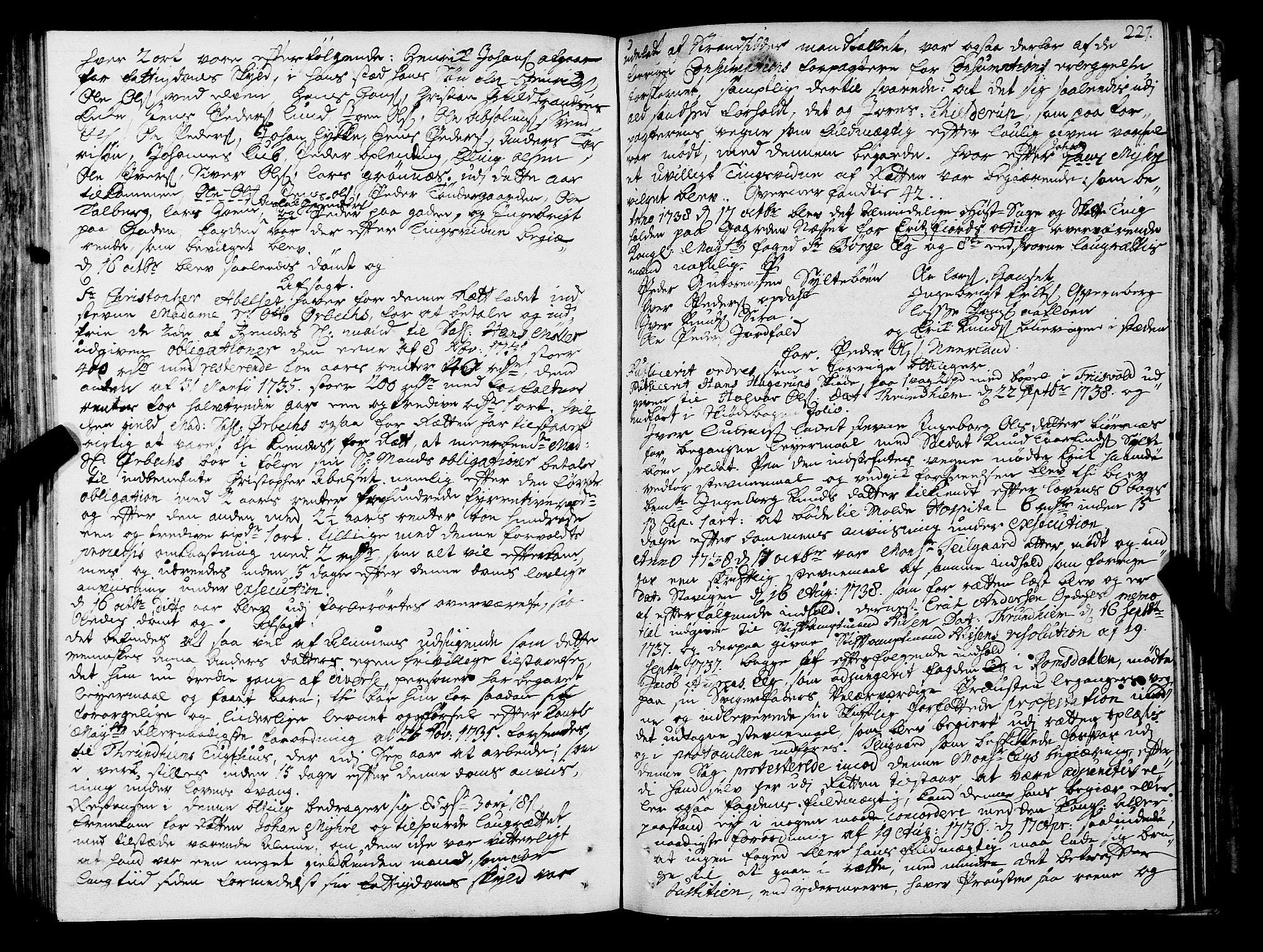 SAT, Romsdal sorenskriveri, 1/1A/L0011: Tingbok, 1732-1740, s. 226b-227a