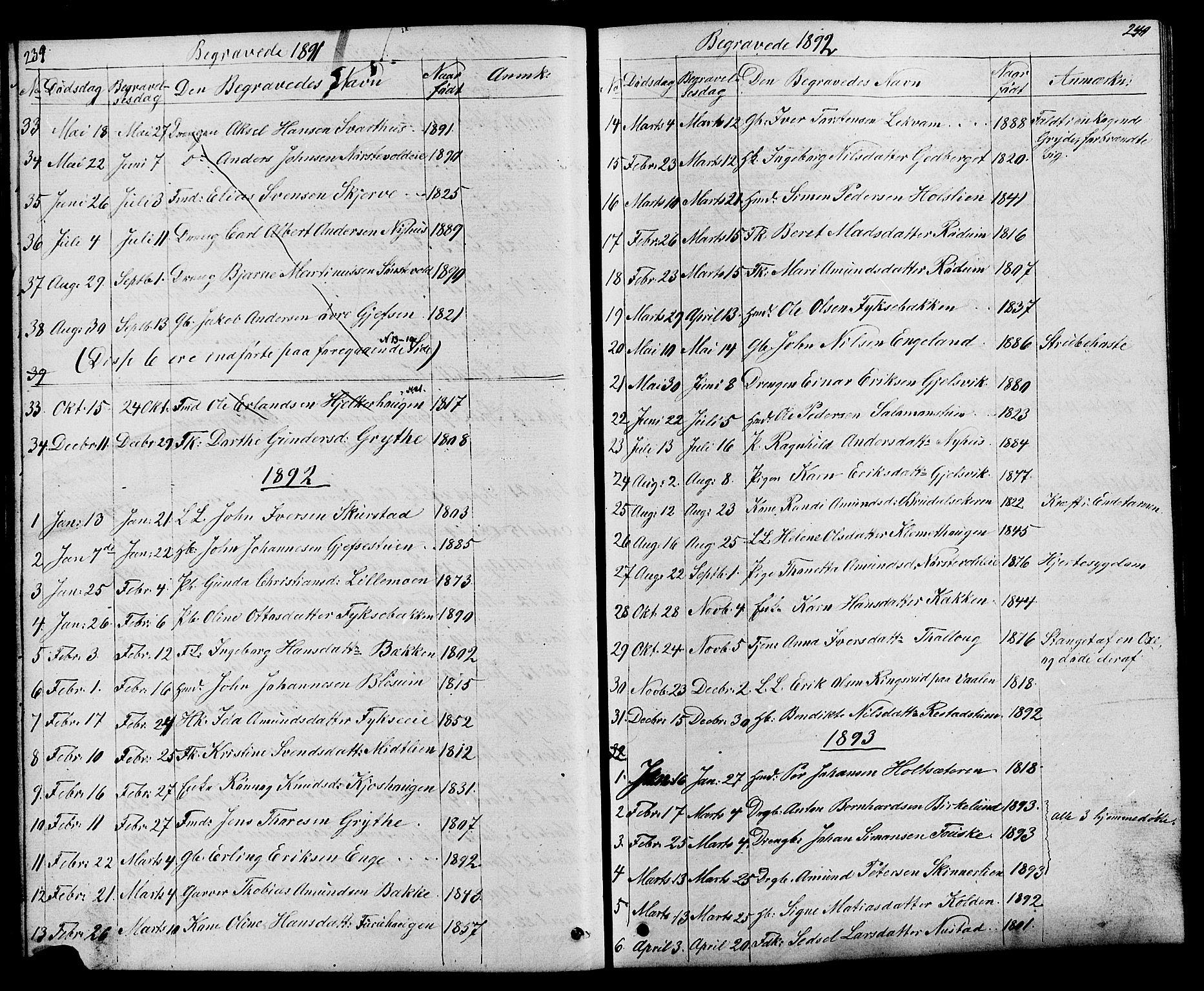 SAH, Østre Gausdal prestekontor, Klokkerbok nr. 1, 1863-1893, s. 239-240