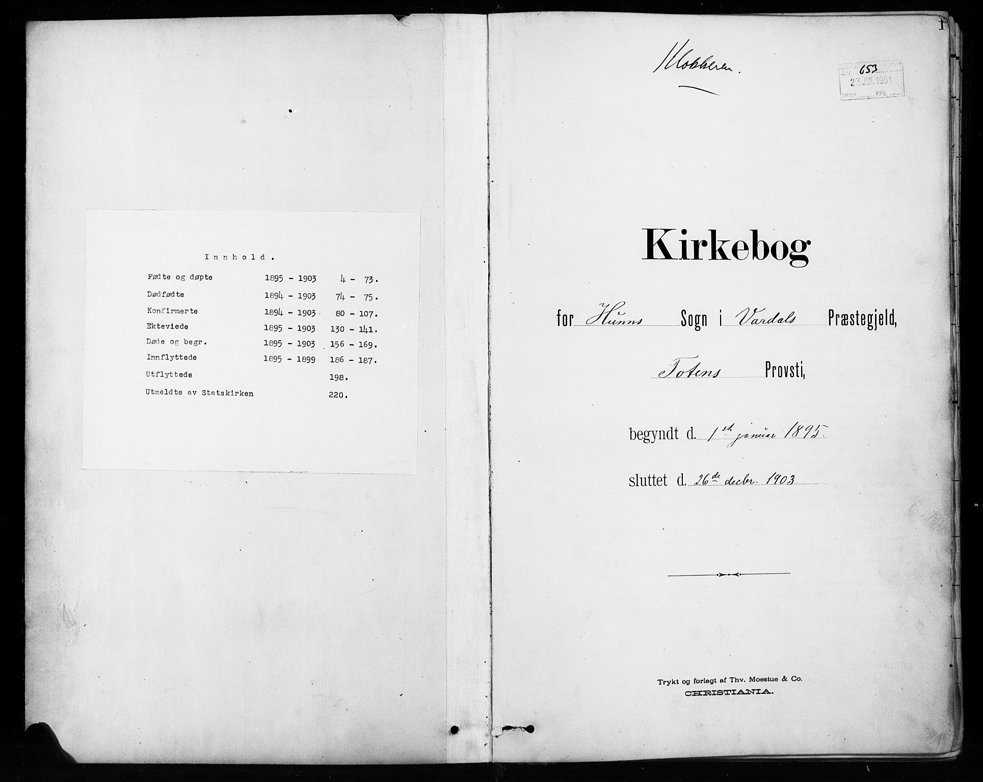 SAH, Vardal prestekontor, H/Ha/Hab/L0010: Klokkerbok nr. 10, 1895-1903, s. 1