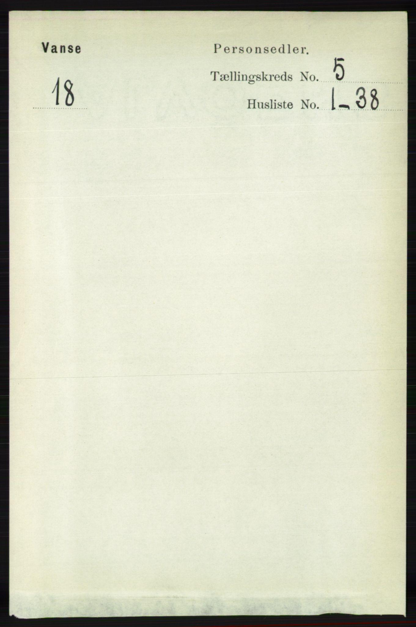 RA, Folketelling 1891 for 1041 Vanse herred, 1891, s. 2794