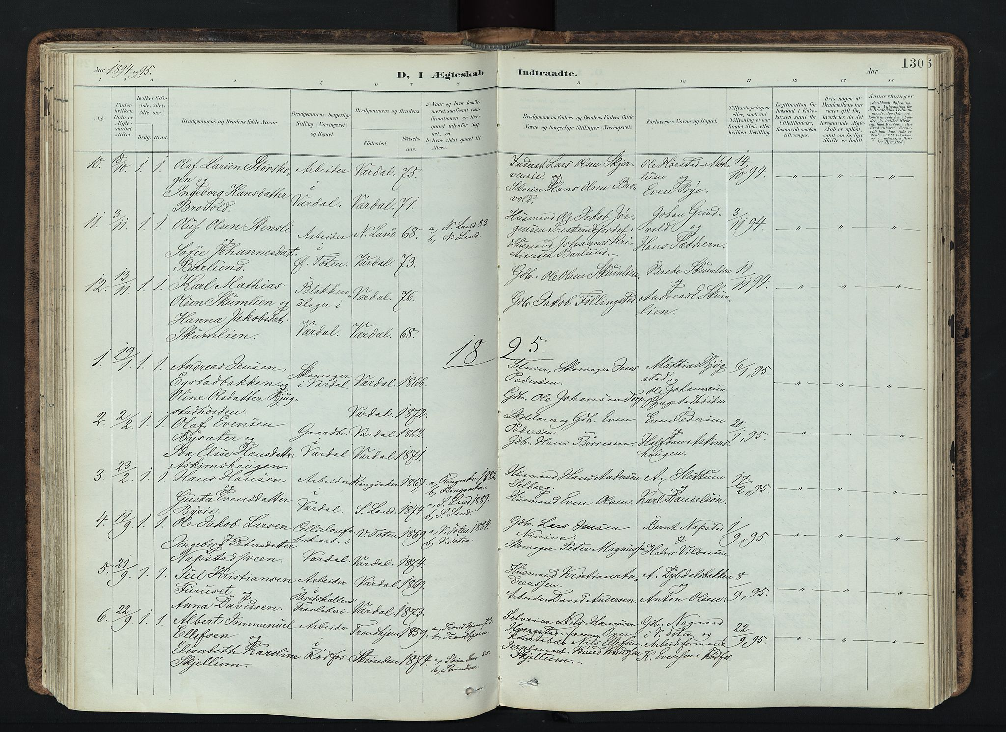 SAH, Vardal prestekontor, H/Ha/Haa/L0019: Ministerialbok nr. 19, 1893-1907, s. 130