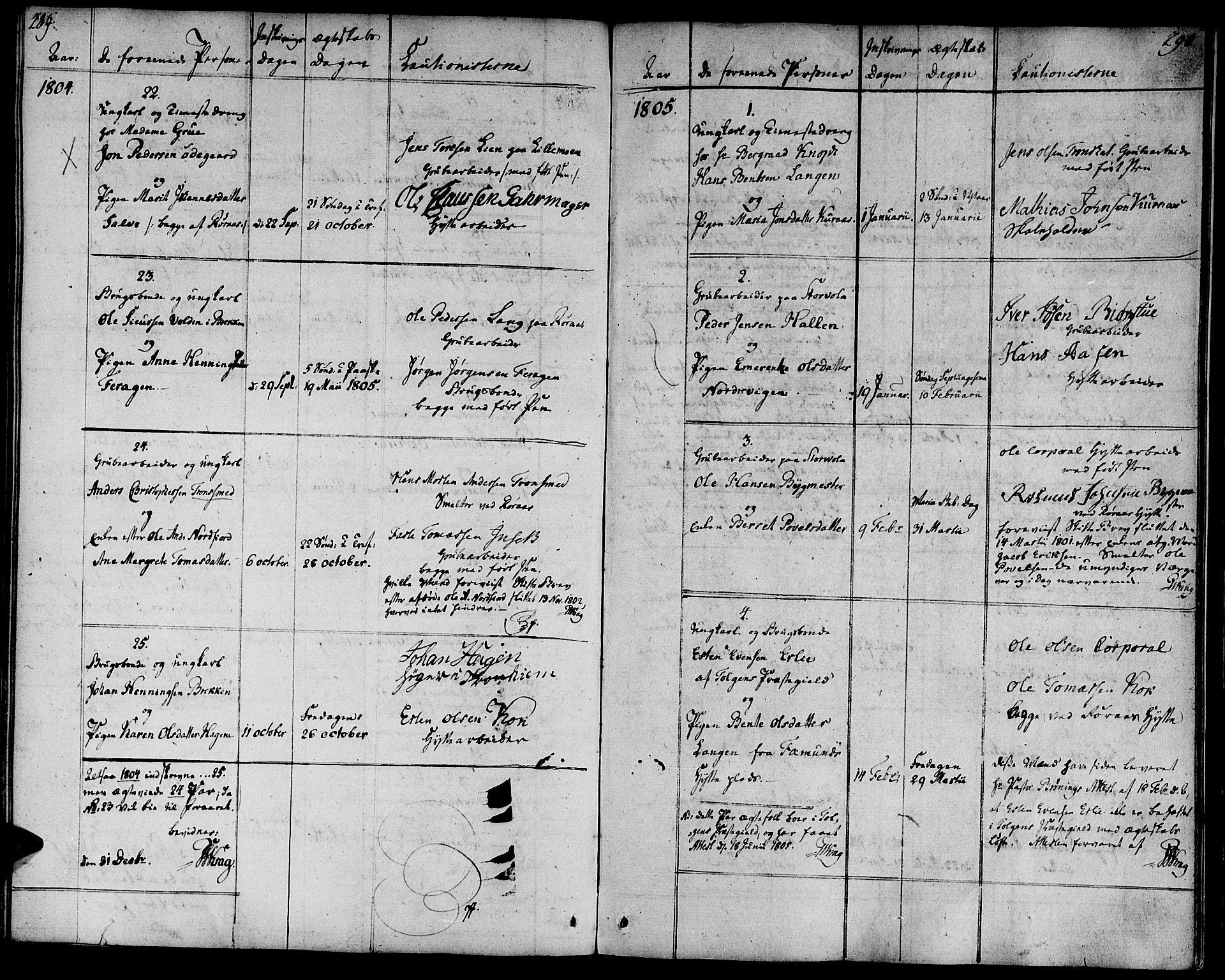 SAT, Ministerialprotokoller, klokkerbøker og fødselsregistre - Sør-Trøndelag, 681/L0927: Ministerialbok nr. 681A05, 1798-1808, s. 289-290