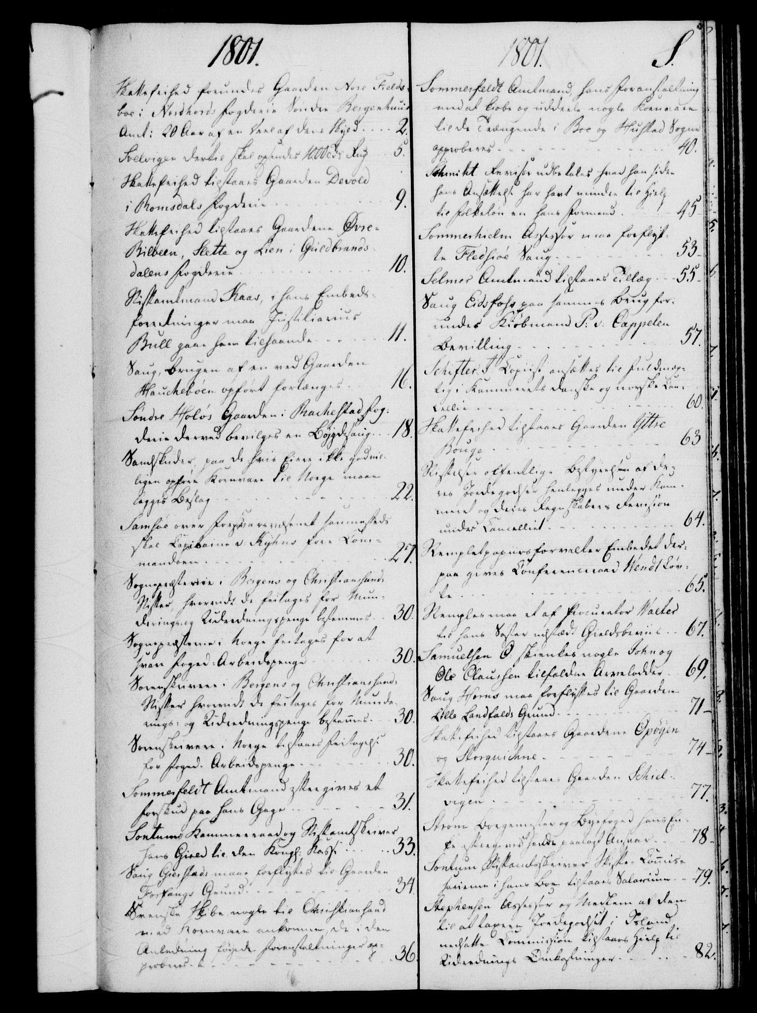 RA, Rentekammeret, Kammerkanselliet, G/Gf/Gfb/L0016: Register til norske relasjons- og resolusjonsprotokoller (merket RK 52.111), 1801-1814, s. 146
