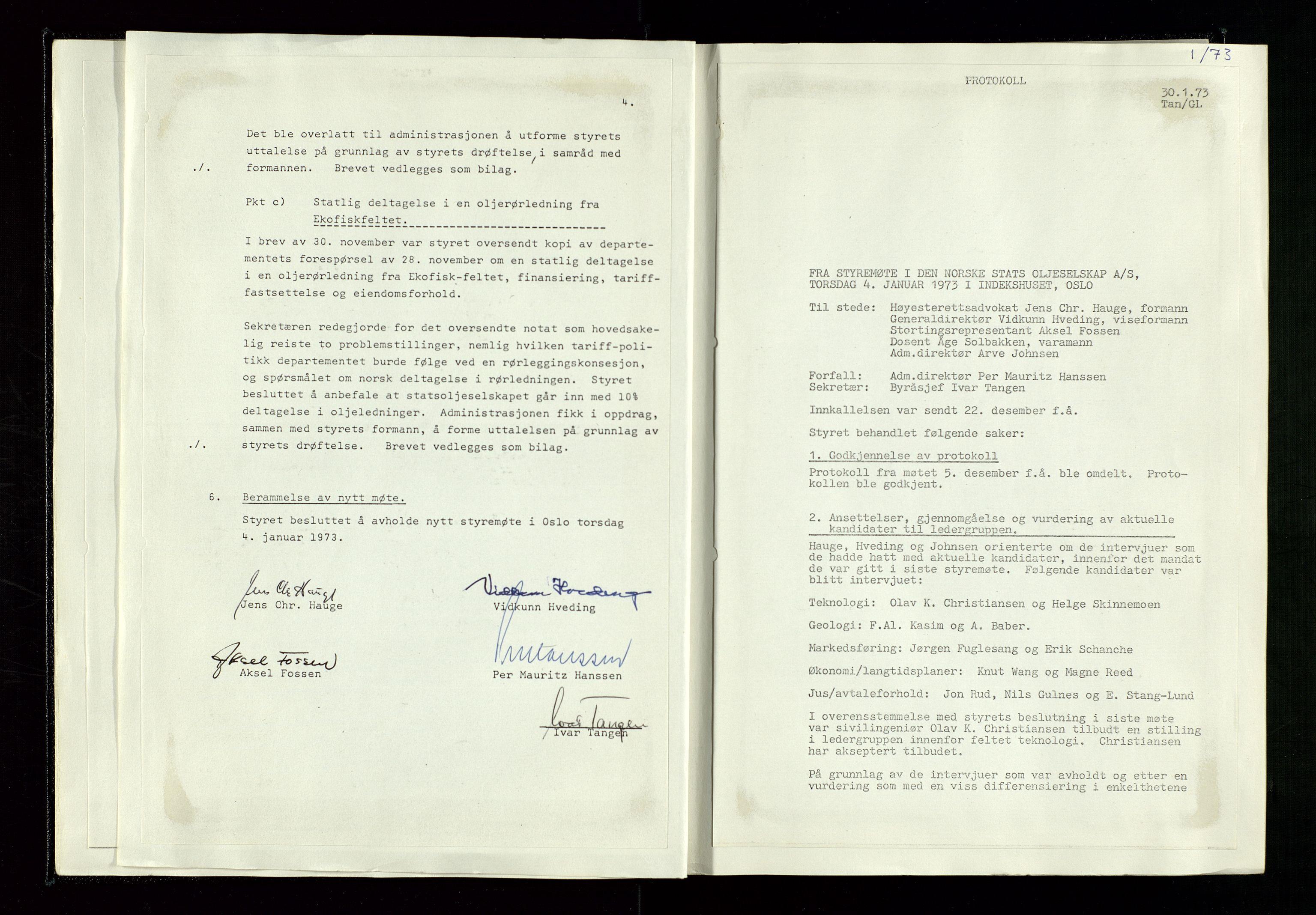 SAST, Pa 1339 - Statoil ASA, A/Ab/Aba/L0001: Styremøteprotokoller, 05.10.1972 til 14.12.1978, 1972-1978, s. 15