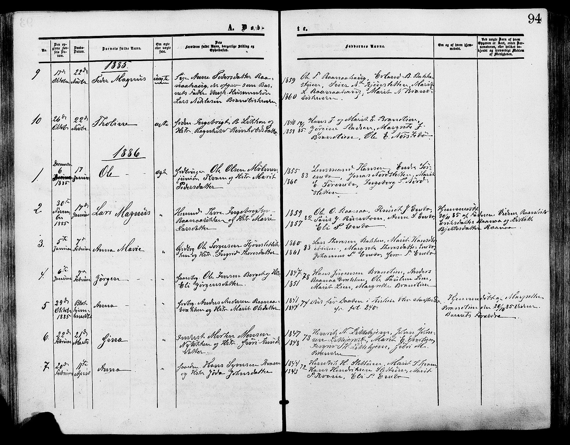 SAH, Lesja prestekontor, Ministerialbok nr. 9, 1854-1889, s. 94
