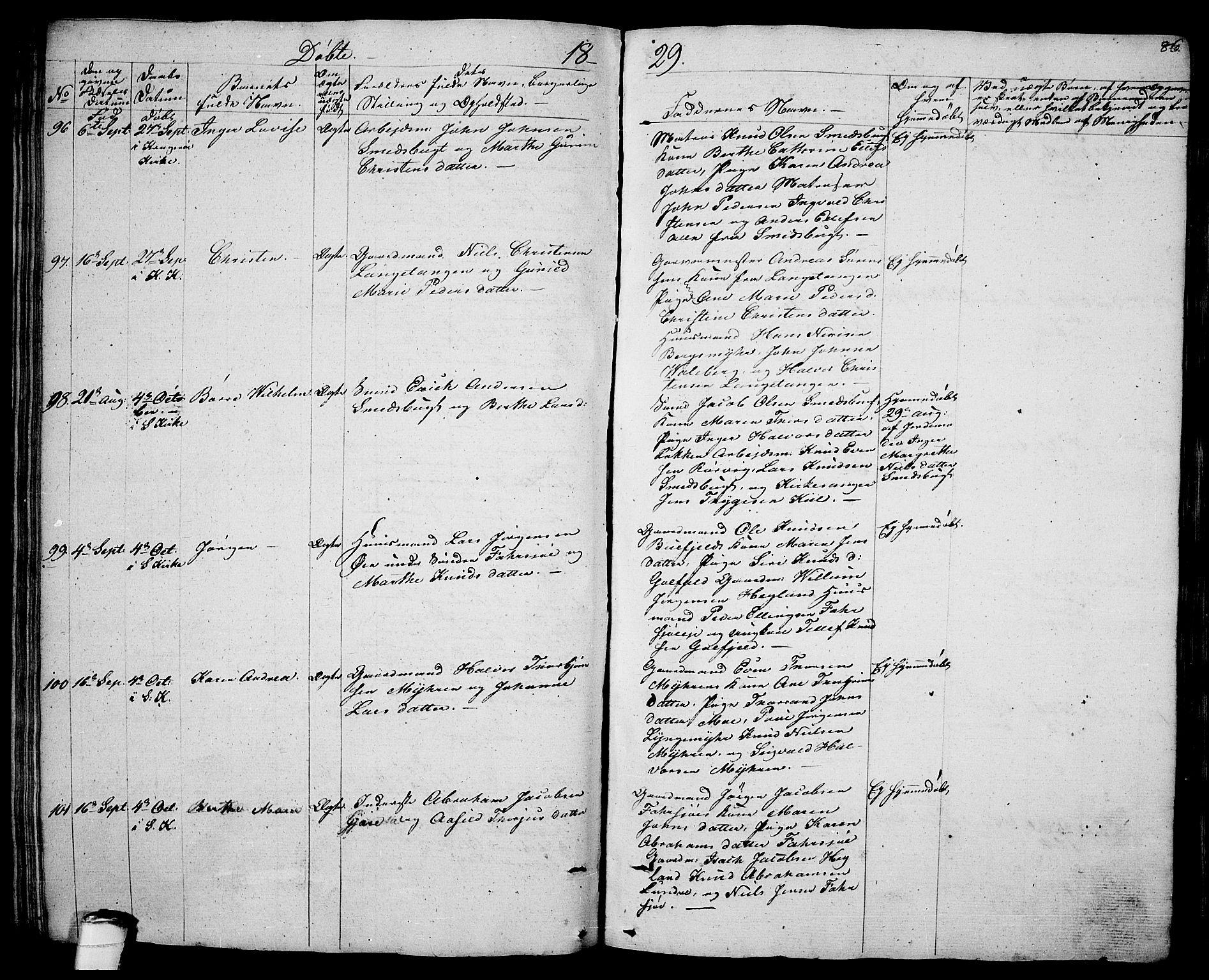 SAKO, Sannidal kirkebøker, F/Fa/L0005: Ministerialbok nr. 5, 1823-1830, s. 86
