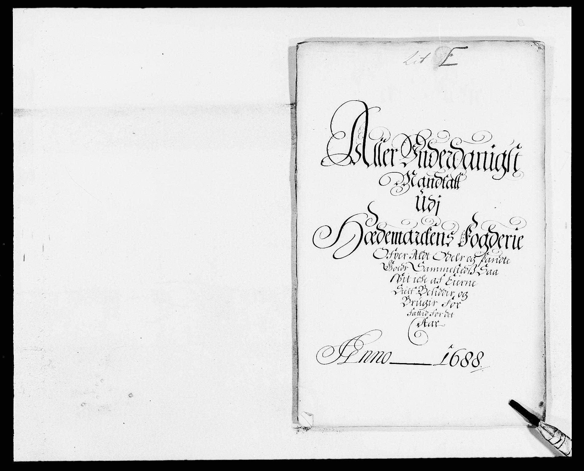 RA, Rentekammeret inntil 1814, Reviderte regnskaper, Fogderegnskap, R16/L1029: Fogderegnskap Hedmark, 1688, s. 260