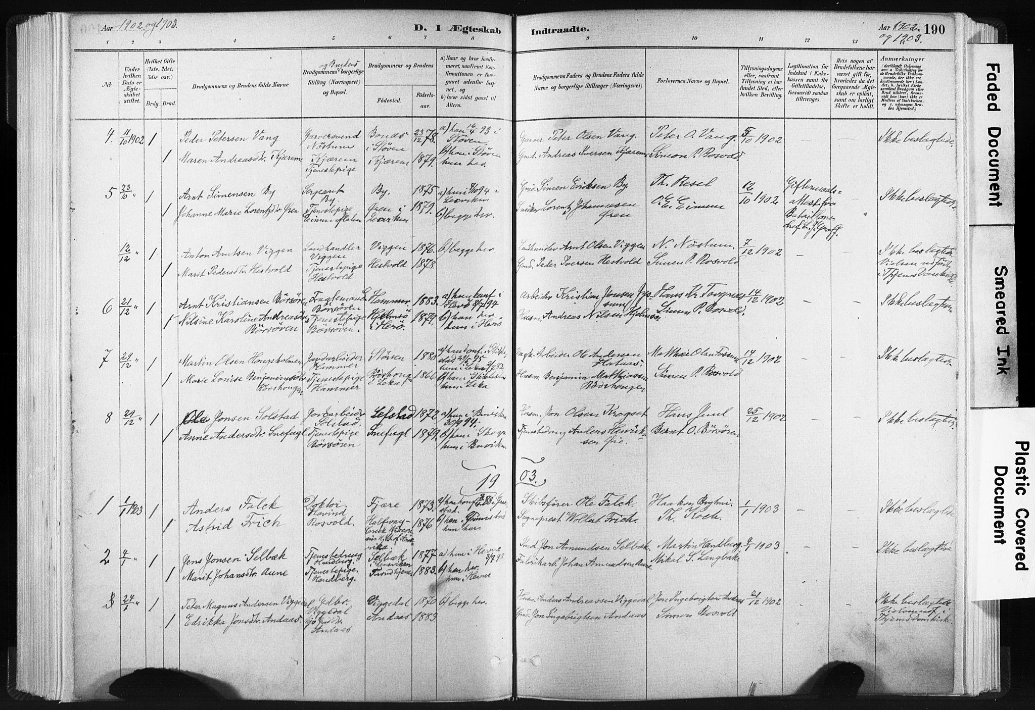 SAT, Ministerialprotokoller, klokkerbøker og fødselsregistre - Sør-Trøndelag, 665/L0773: Ministerialbok nr. 665A08, 1879-1905, s. 190