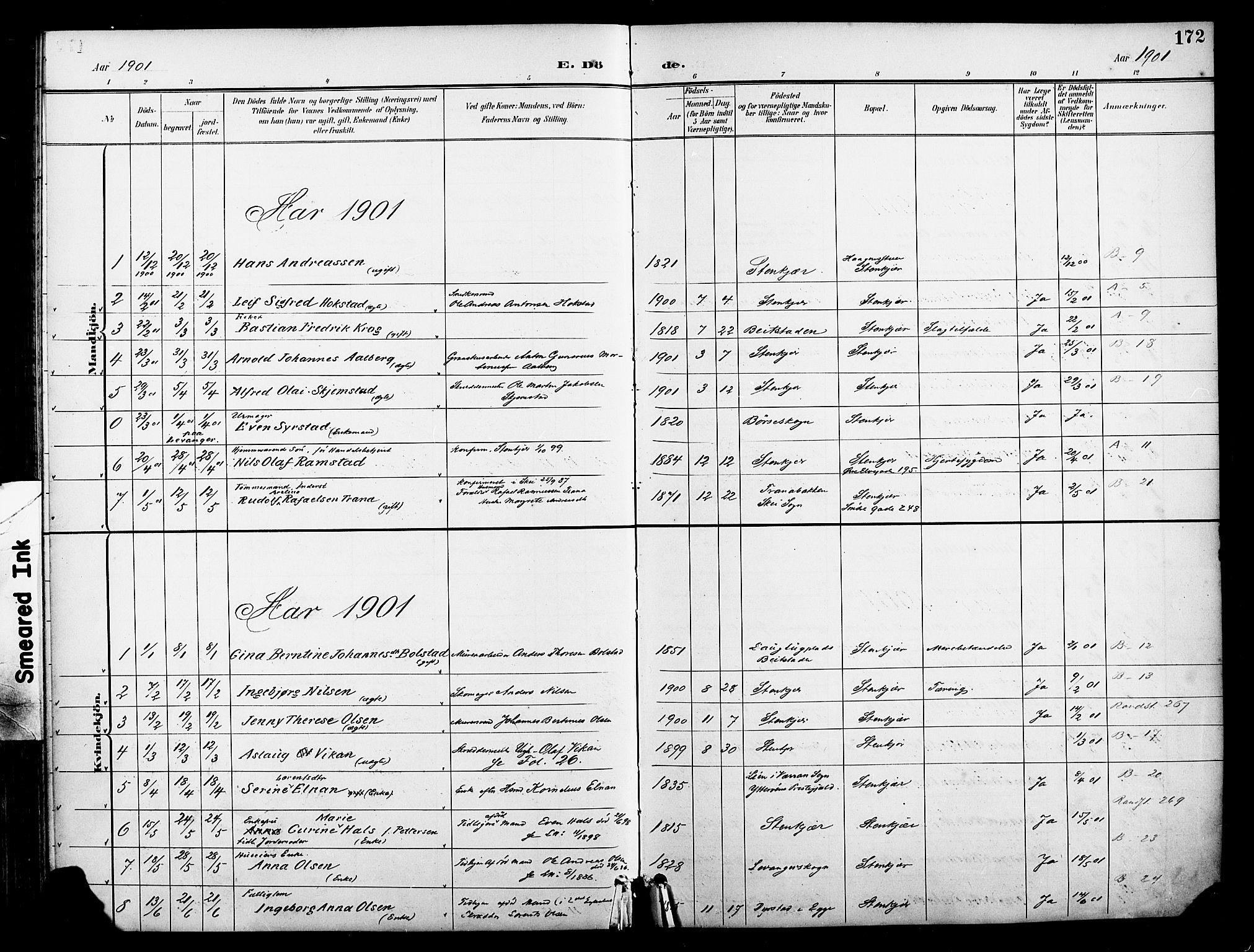 SAT, Ministerialprotokoller, klokkerbøker og fødselsregistre - Nord-Trøndelag, 739/L0372: Ministerialbok nr. 739A04, 1895-1903, s. 172