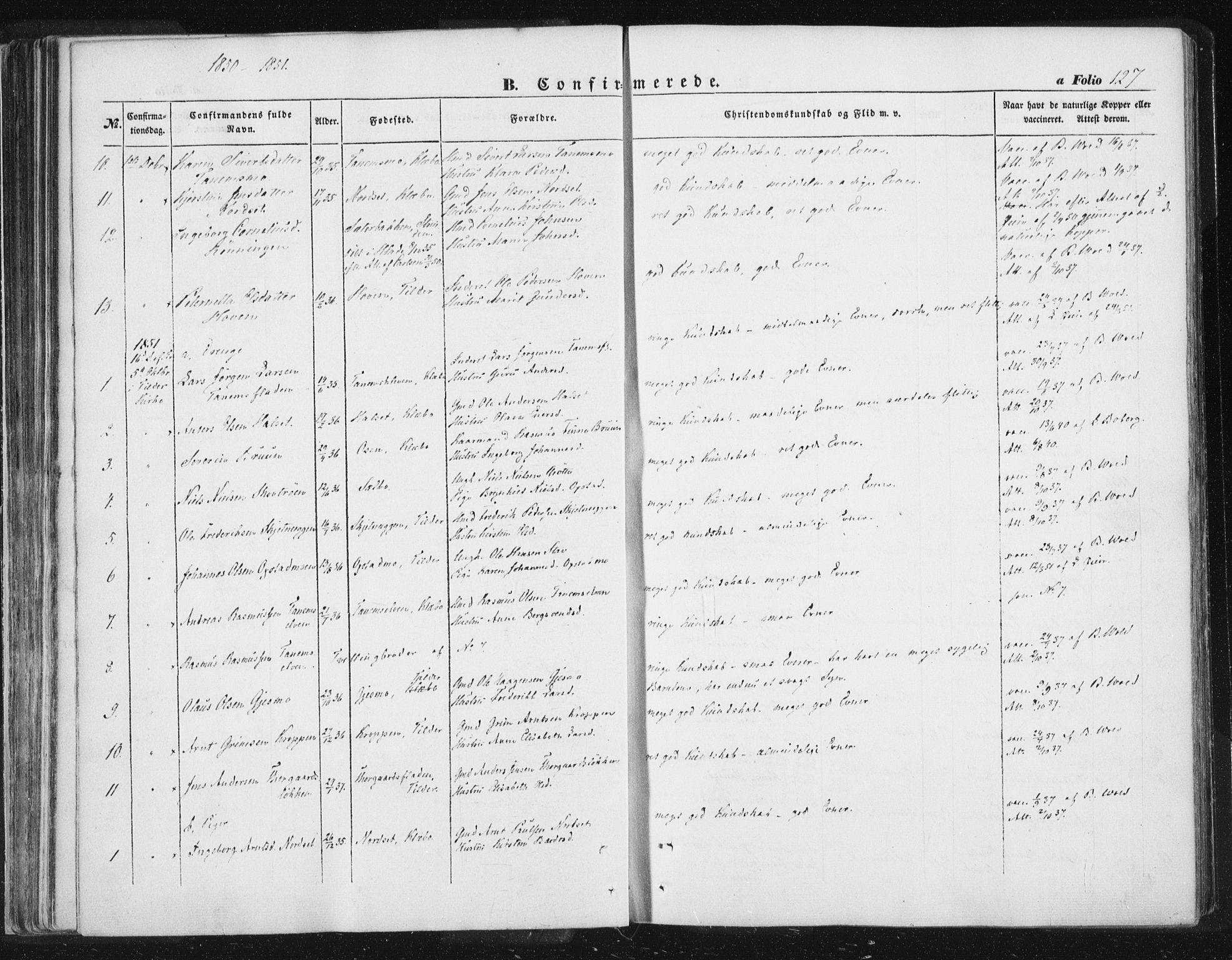 SAT, Ministerialprotokoller, klokkerbøker og fødselsregistre - Sør-Trøndelag, 618/L0441: Ministerialbok nr. 618A05, 1843-1862, s. 127