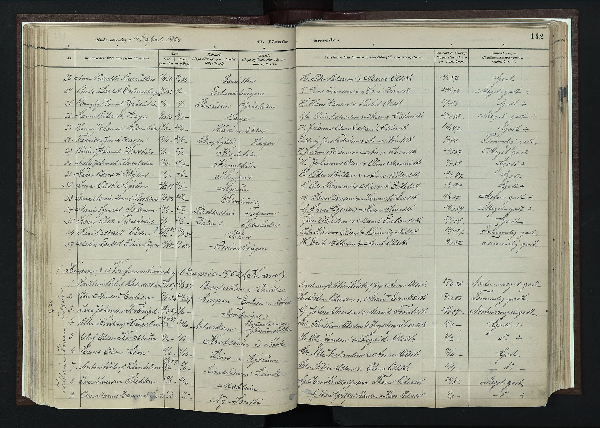 SAH, Nord-Fron prestekontor, Ministerialbok nr. 4, 1884-1914, s. 142