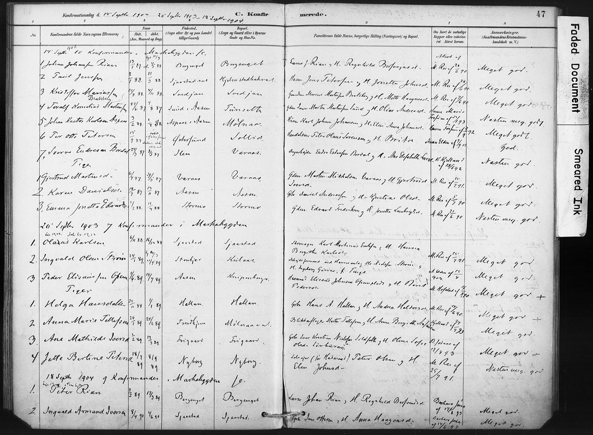 SAT, Ministerialprotokoller, klokkerbøker og fødselsregistre - Nord-Trøndelag, 718/L0175: Ministerialbok nr. 718A01, 1890-1923, s. 47