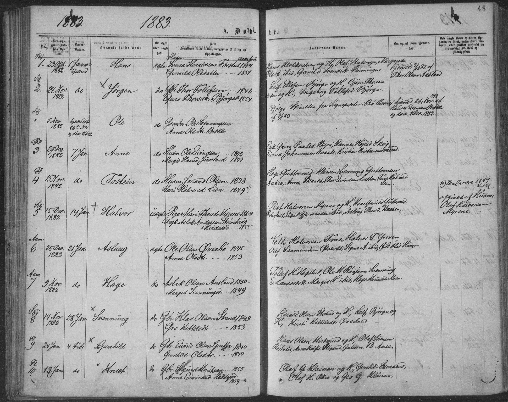 SAKO, Seljord kirkebøker, F/Fa/L0014: Ministerialbok nr. I 14, 1877-1886, s. 48