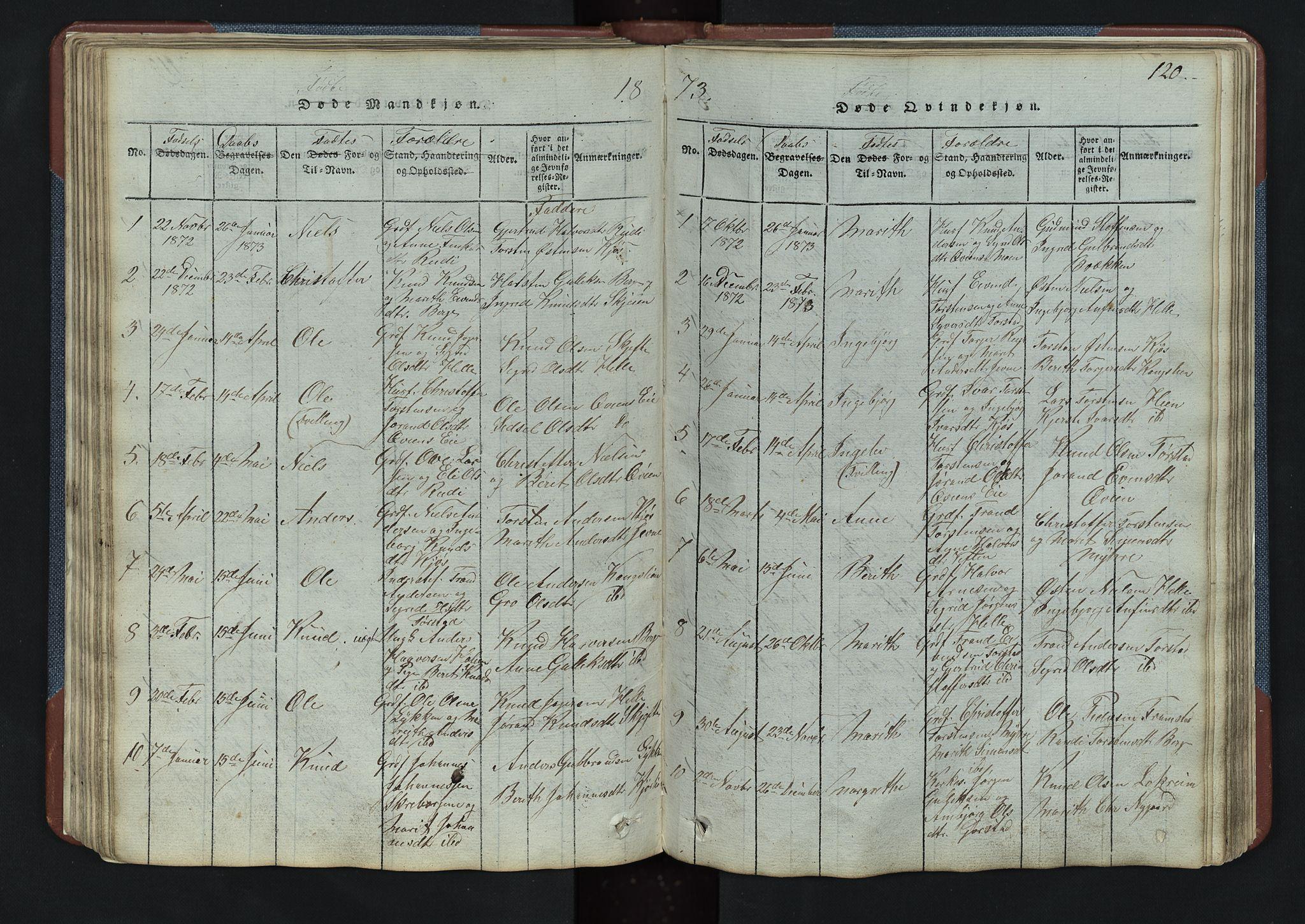 SAH, Vang prestekontor, Valdres, Klokkerbok nr. 3, 1814-1892, s. 120