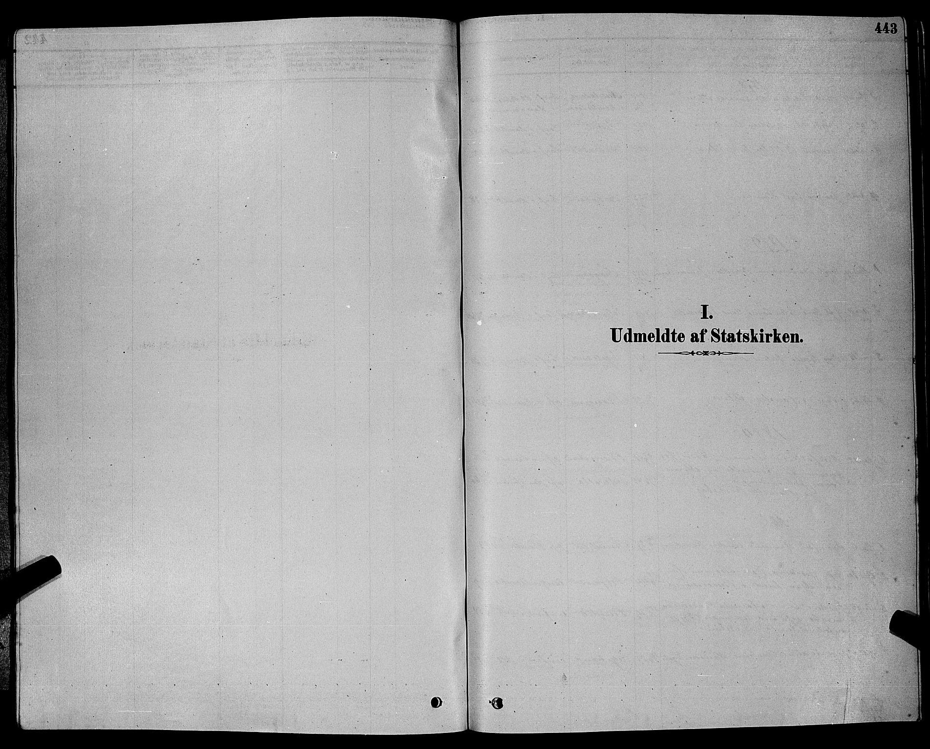 SAKO, Bamble kirkebøker, G/Ga/L0008: Klokkerbok nr. I 8, 1878-1888, s. 443