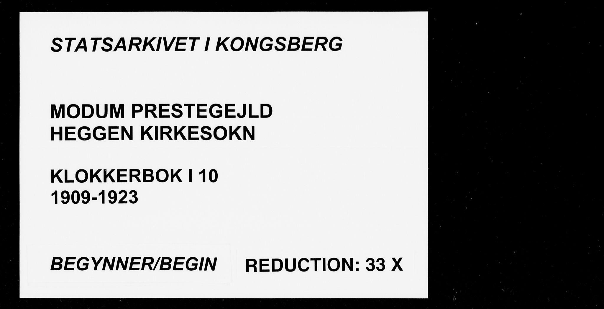 SAKO, Modum kirkebøker, G/Ga/L0010: Klokkerbok nr. I 10, 1909-1923