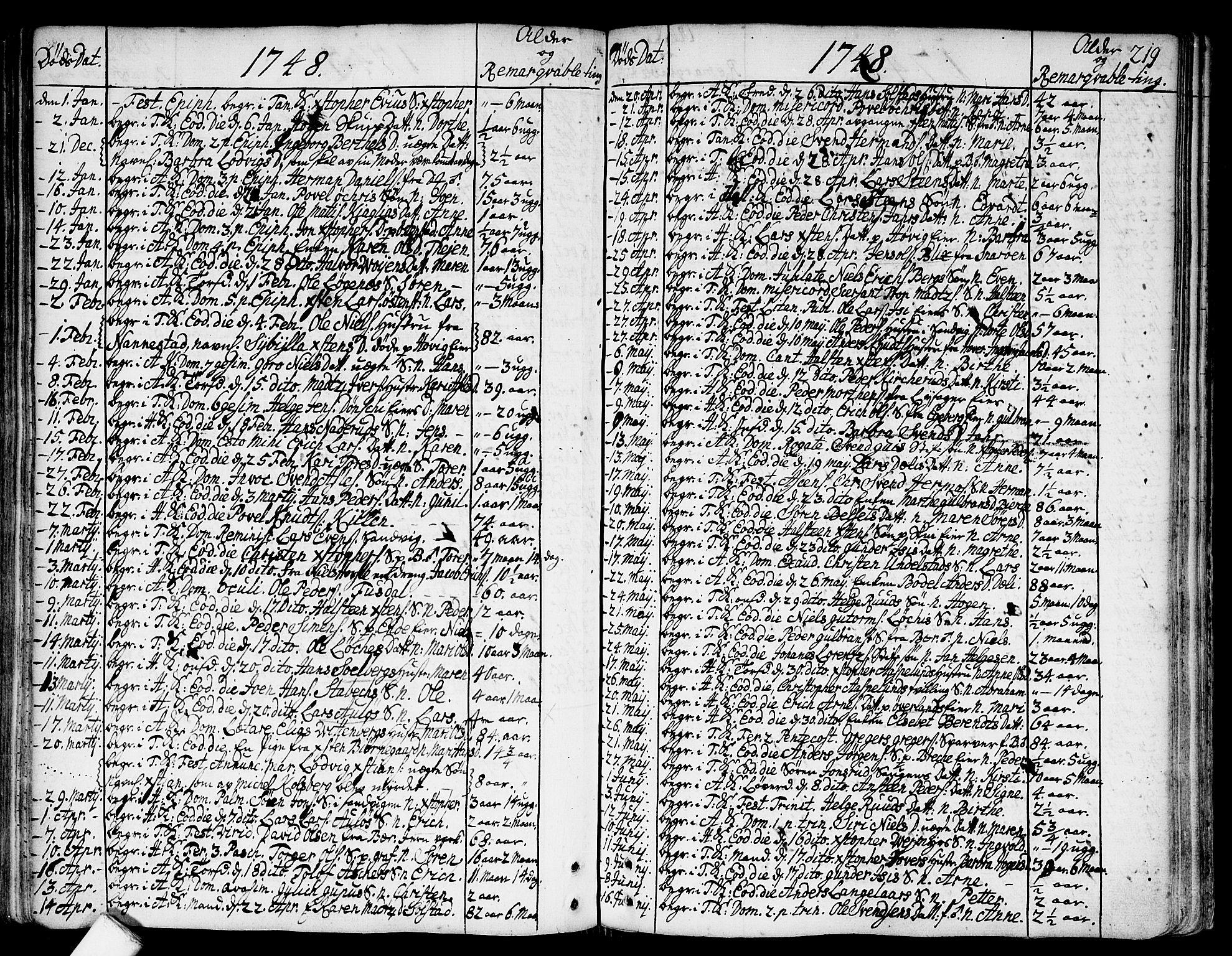 SAO, Asker prestekontor Kirkebøker, F/Fa/L0002: Ministerialbok nr. I 2, 1733-1766, s. 219