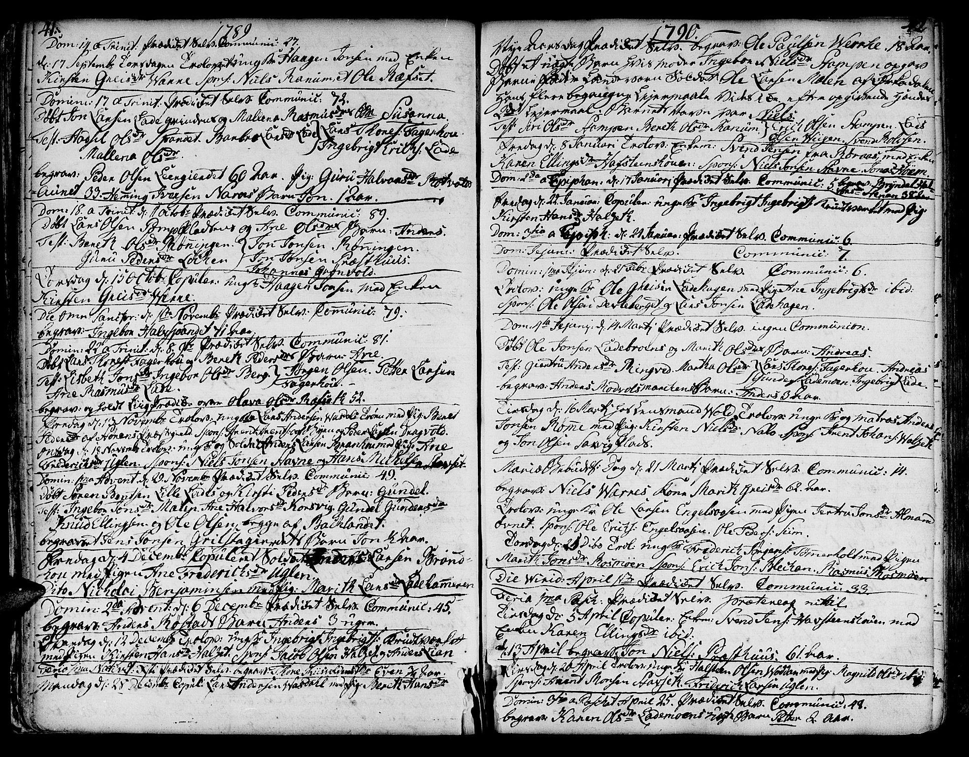 SAT, Ministerialprotokoller, klokkerbøker og fødselsregistre - Sør-Trøndelag, 606/L0280: Ministerialbok nr. 606A02 /1, 1781-1817, s. 41-42