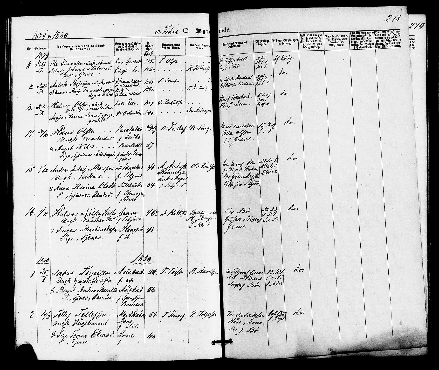 SAKO, Drangedal kirkebøker, F/Fa/L0009: Ministerialbok nr. 9 /2, 1872-1884, s. 278