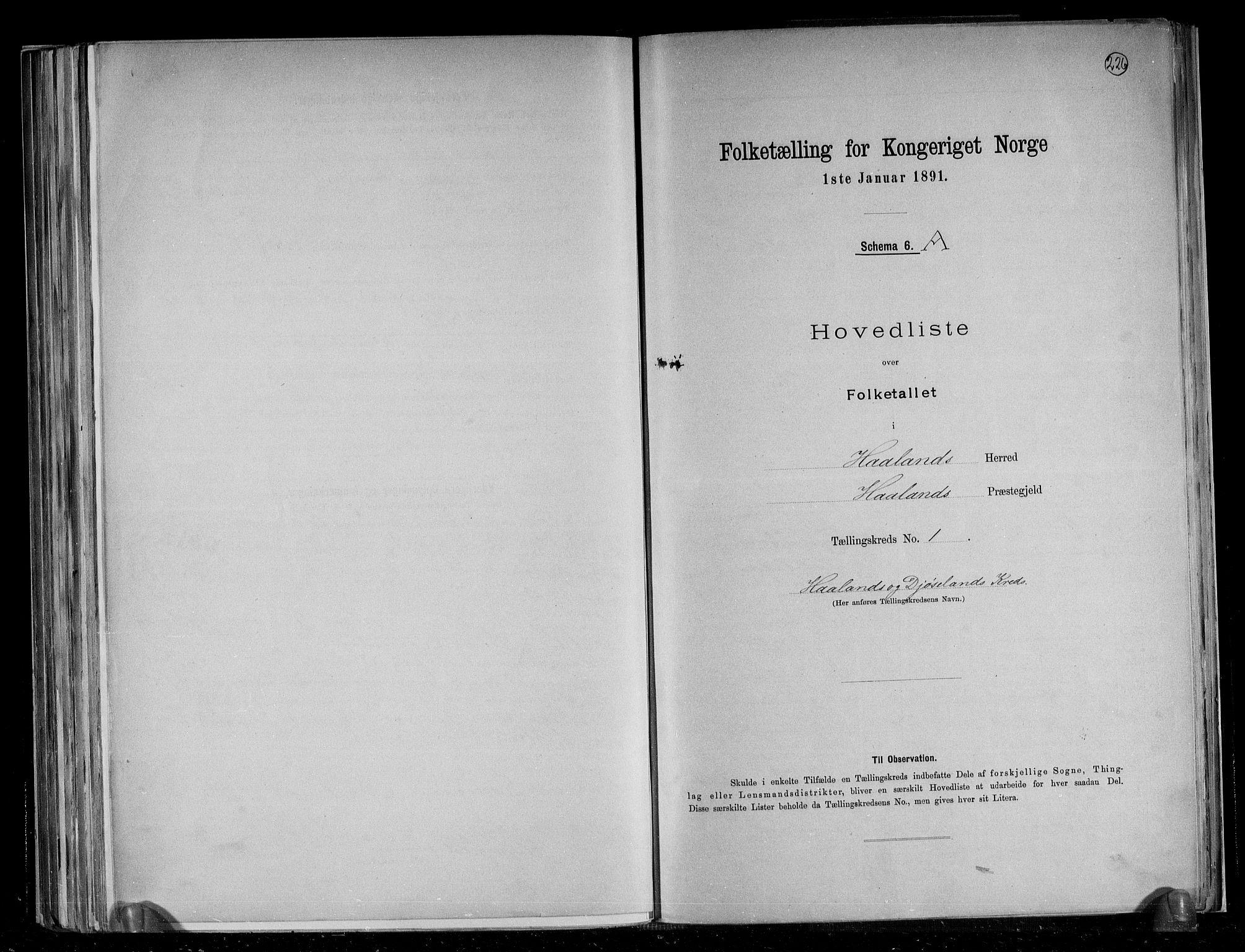 RA, Folketelling 1891 for 1124 Haaland herred, 1891, s. 4