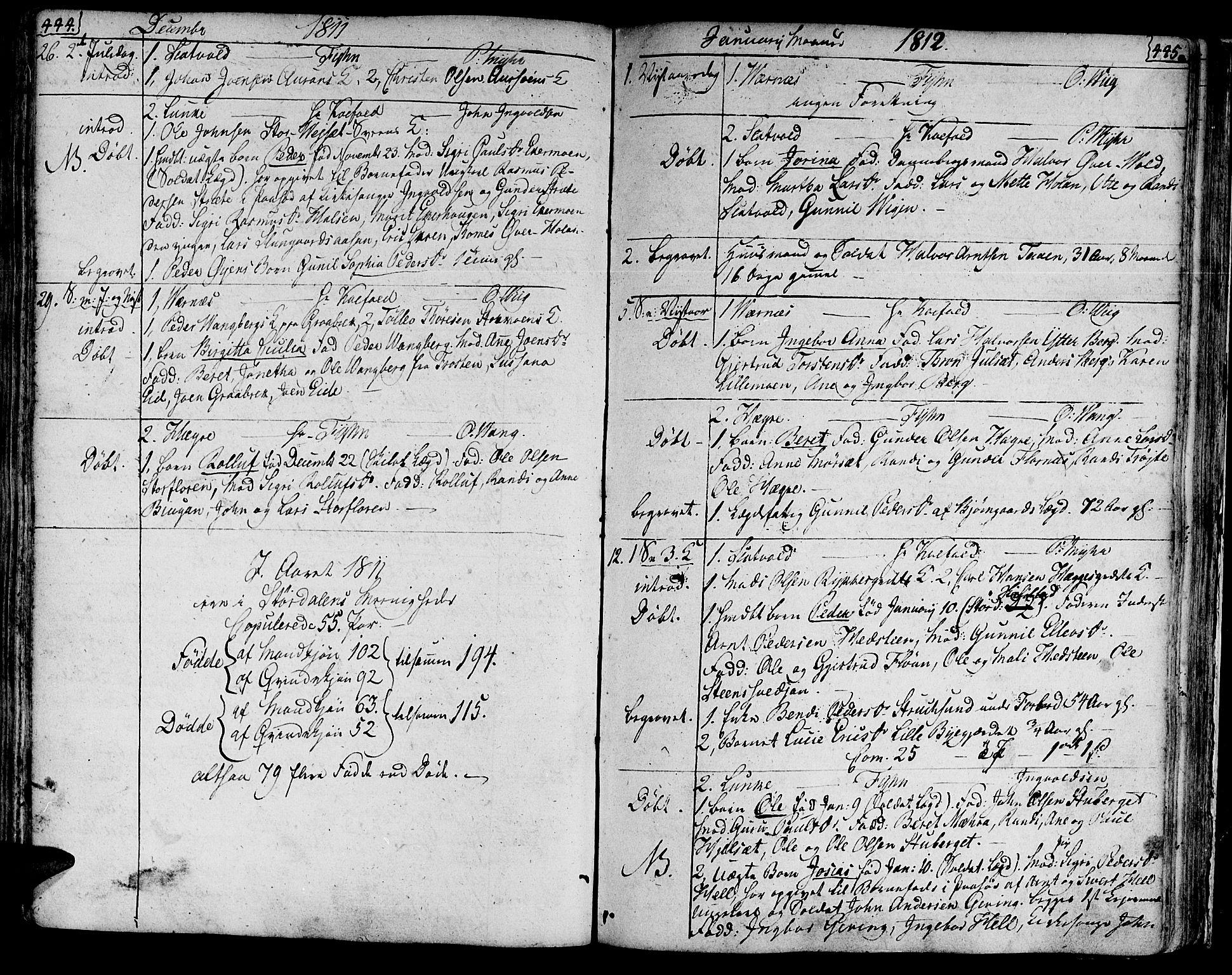 SAT, Ministerialprotokoller, klokkerbøker og fødselsregistre - Nord-Trøndelag, 709/L0060: Ministerialbok nr. 709A07, 1797-1815, s. 444-445