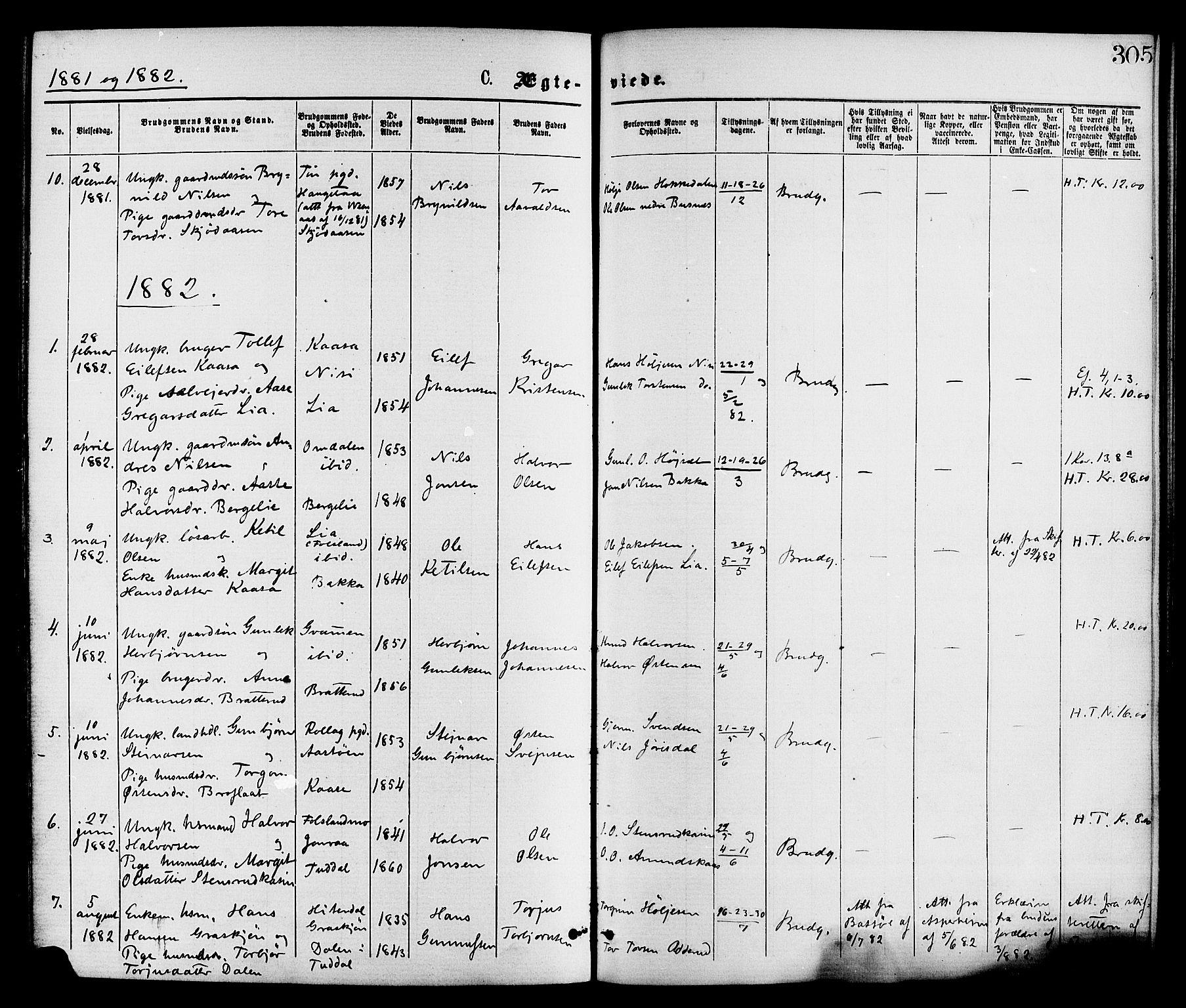 SAKO, Gransherad kirkebøker, F/Fa/L0004: Ministerialbok nr. I 4, 1871-1886, s. 305