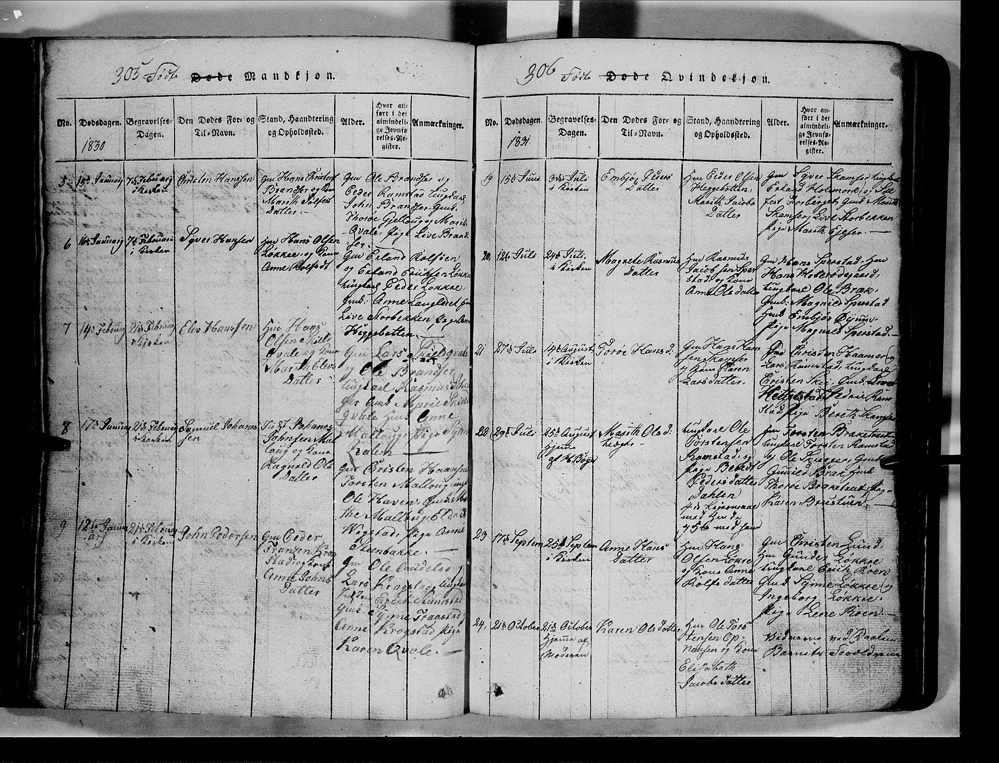 SAH, Lom prestekontor, L/L0003: Klokkerbok nr. 3, 1815-1844, s. 305-306