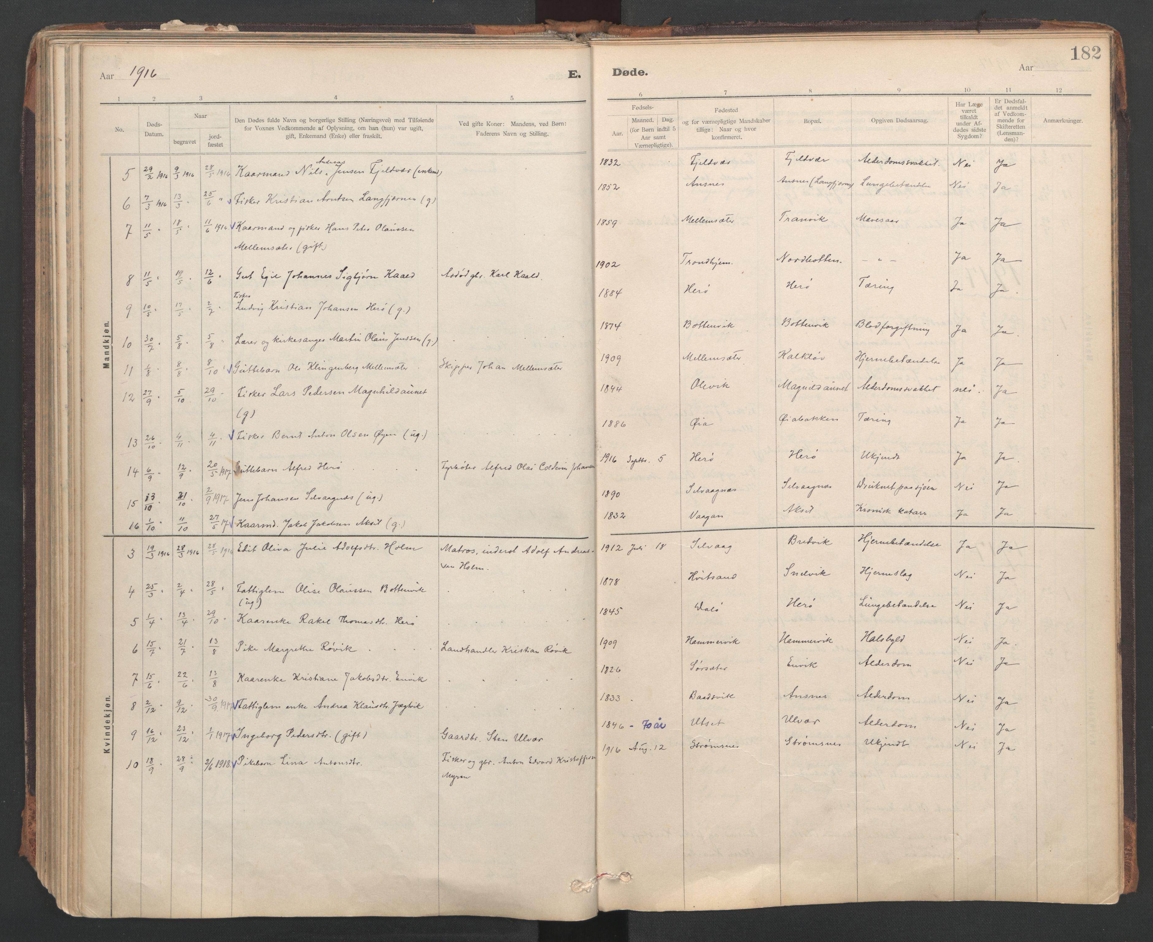 SAT, Ministerialprotokoller, klokkerbøker og fødselsregistre - Sør-Trøndelag, 637/L0559: Ministerialbok nr. 637A02, 1899-1923, s. 182