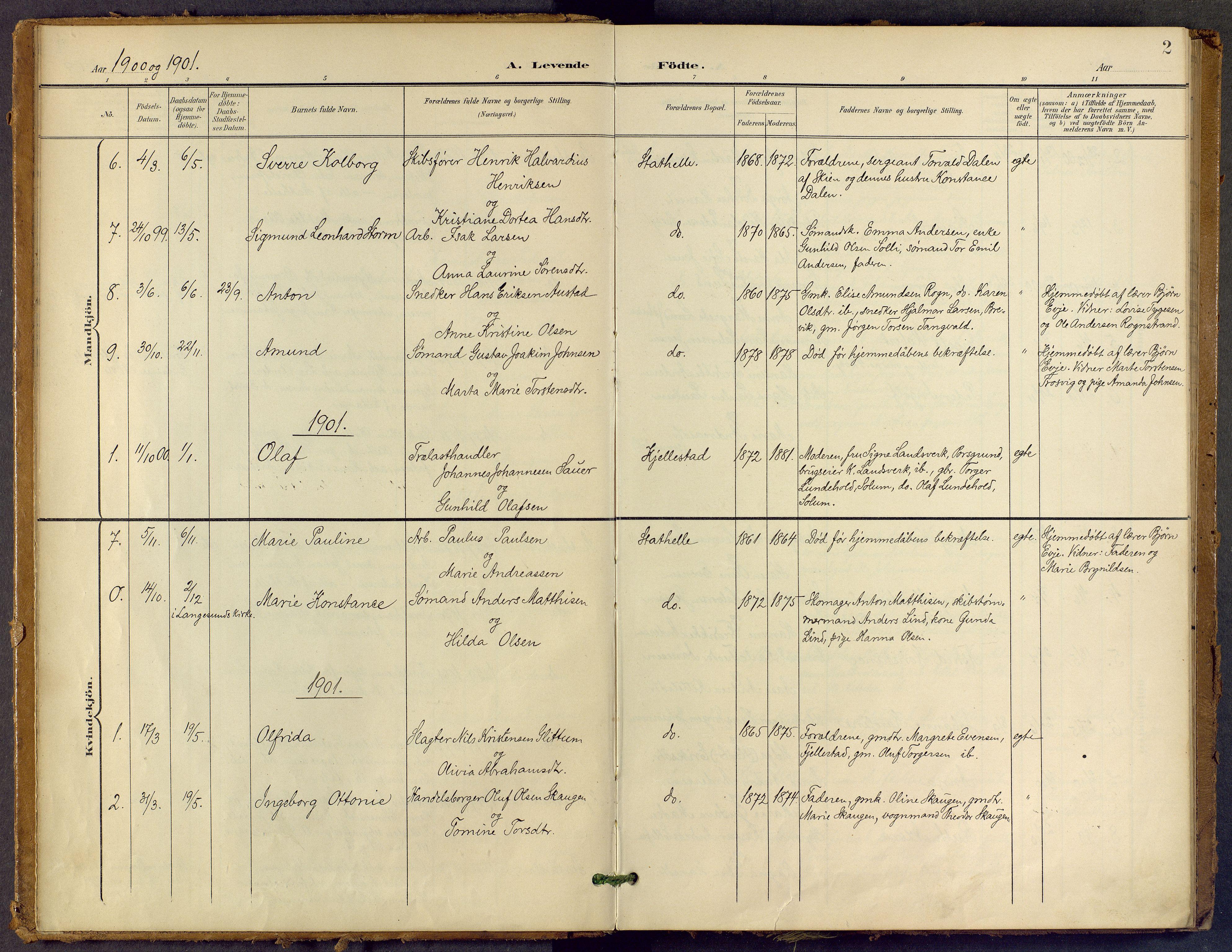 SAKO, Bamble kirkebøker, F/Fb/L0002: Ministerialbok nr. II 2, 1900-1921, s. 2