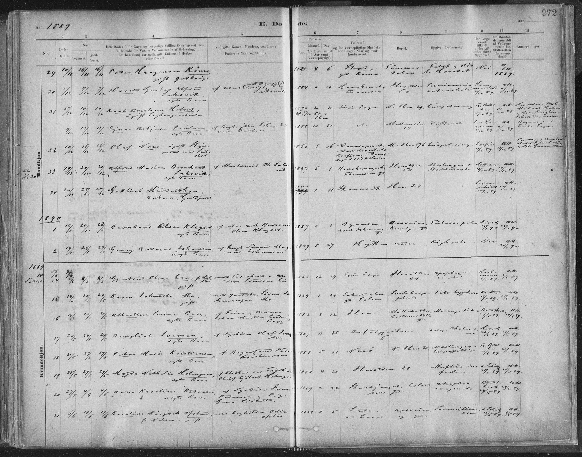 SAT, Ministerialprotokoller, klokkerbøker og fødselsregistre - Sør-Trøndelag, 603/L0162: Ministerialbok nr. 603A01, 1879-1895, s. 272