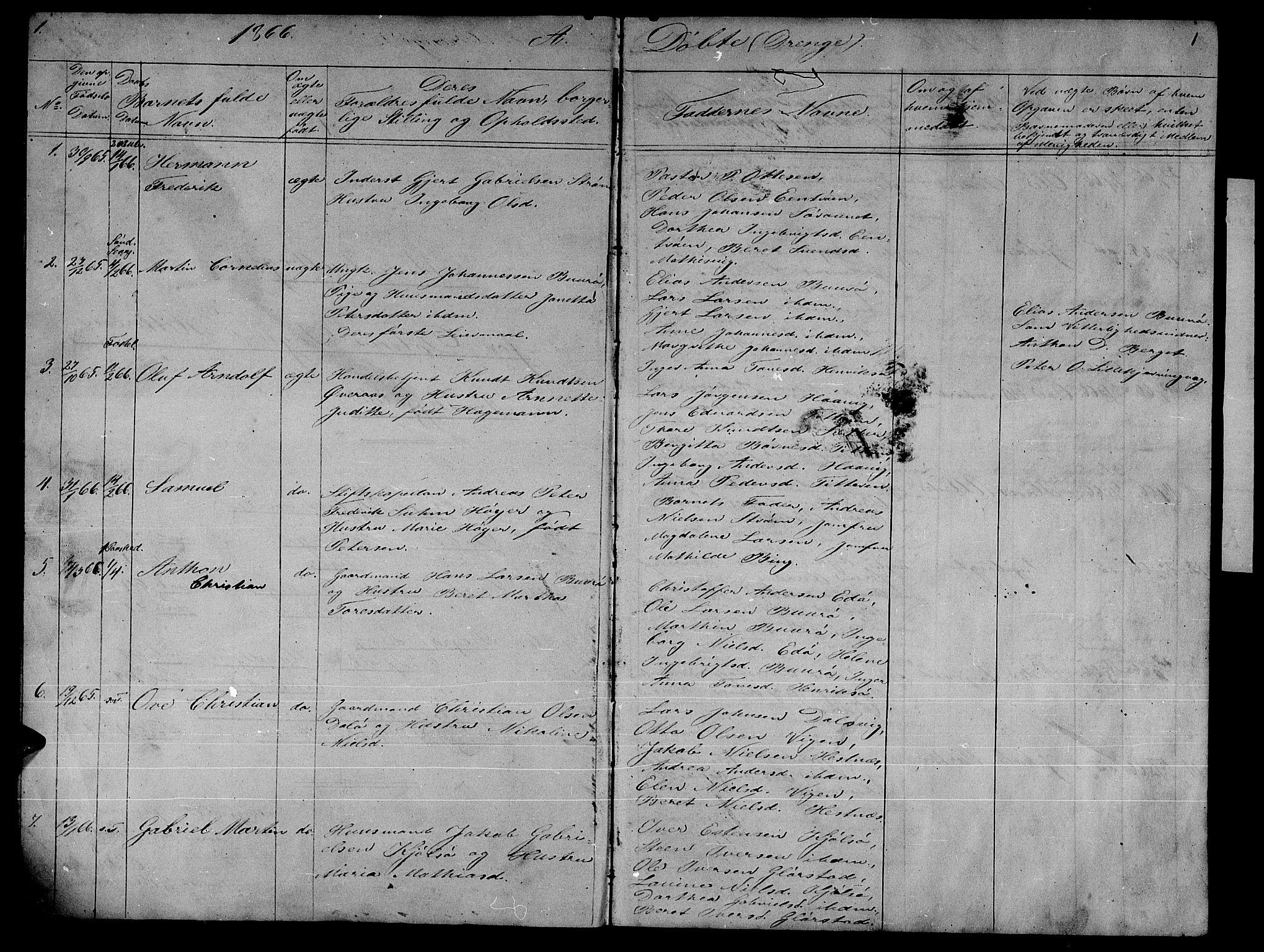 SAT, Ministerialprotokoller, klokkerbøker og fødselsregistre - Sør-Trøndelag, 634/L0539: Klokkerbok nr. 634C01, 1866-1873, s. 1