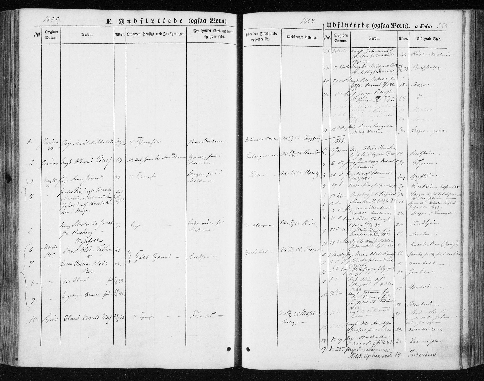SAT, Ministerialprotokoller, klokkerbøker og fødselsregistre - Nord-Trøndelag, 723/L0240: Ministerialbok nr. 723A09, 1852-1860, s. 325