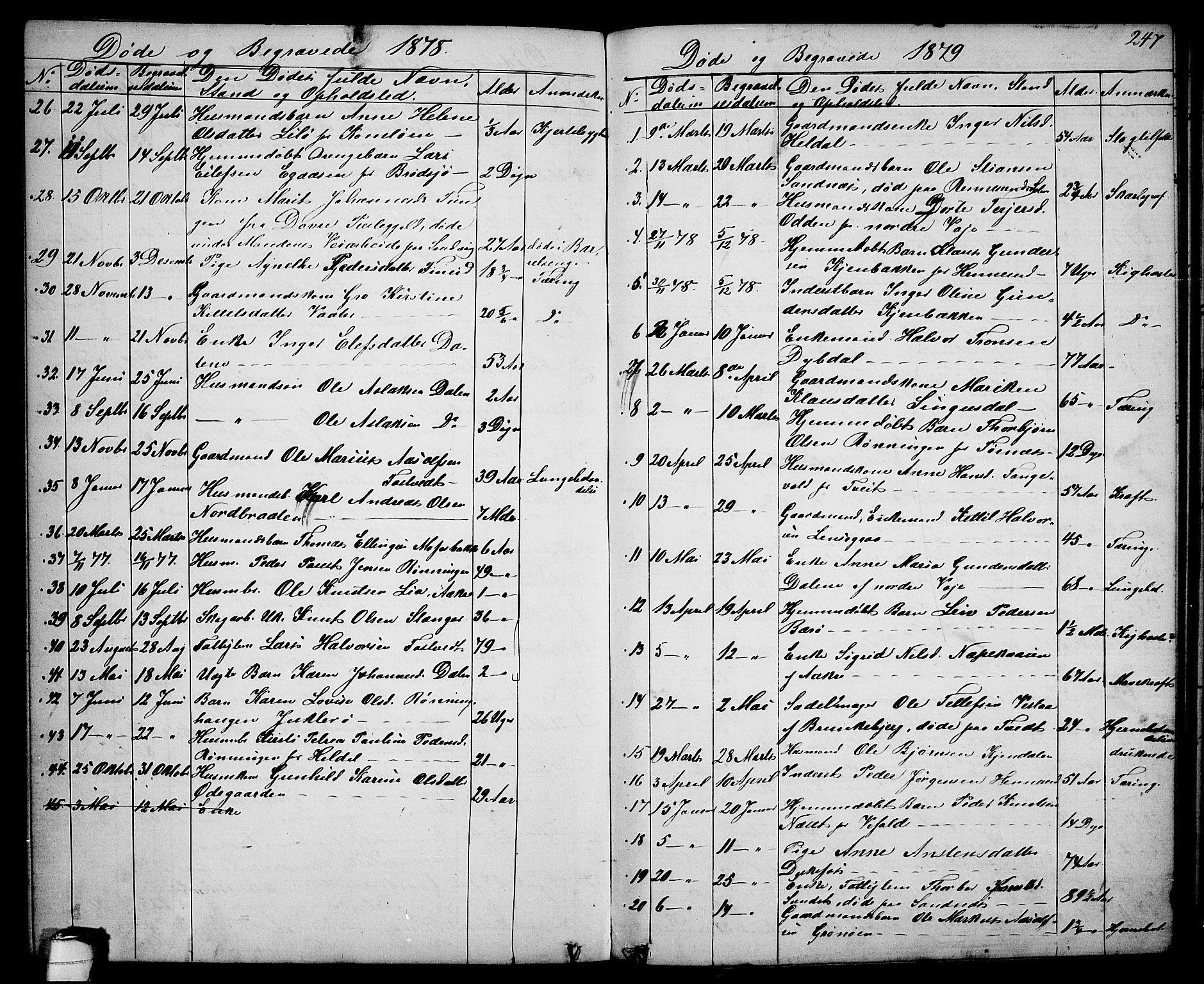 SAKO, Drangedal kirkebøker, G/Ga/L0002: Klokkerbok nr. I 2, 1856-1887, s. 247