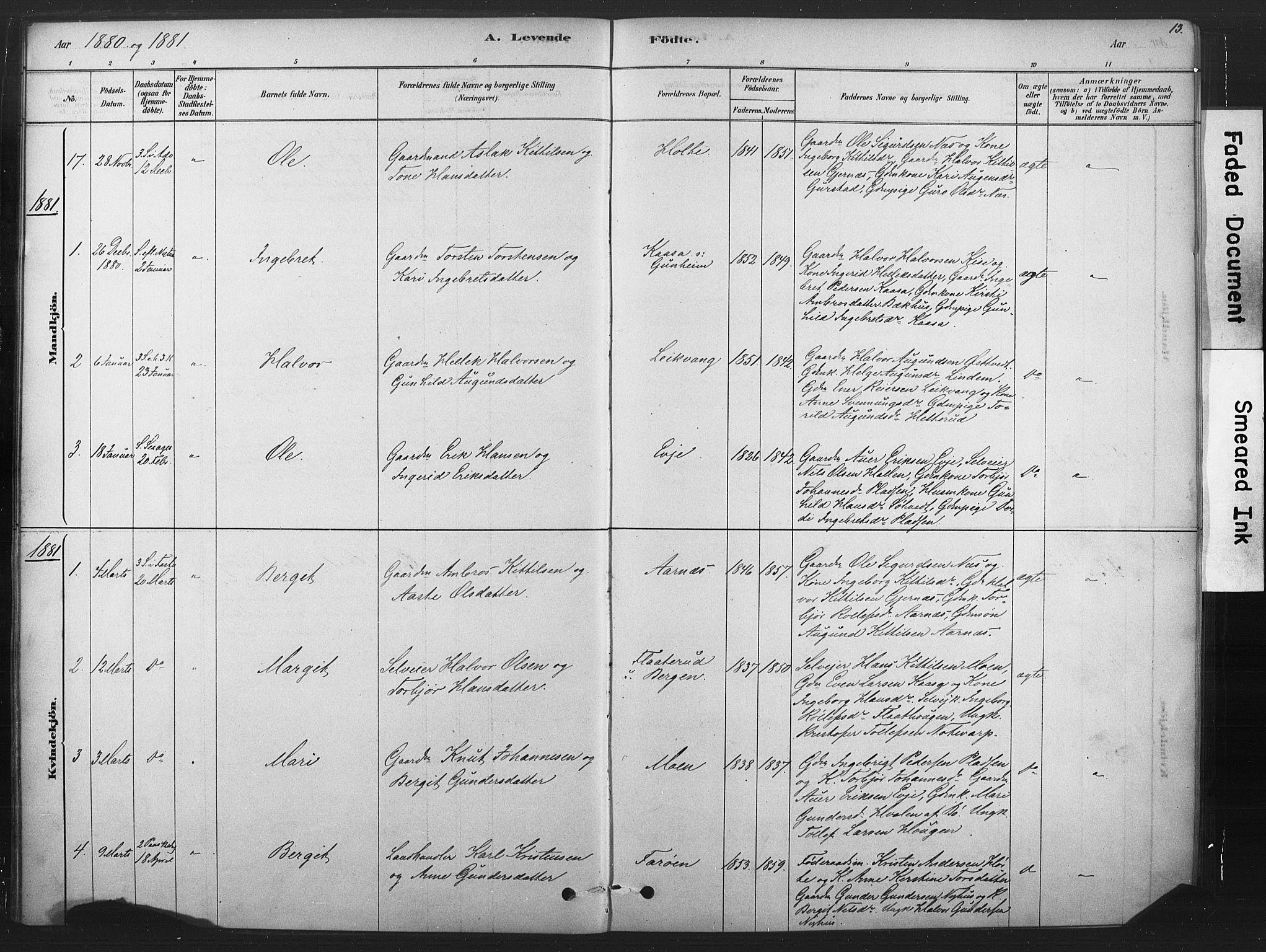 SAKO, Sauherad kirkebøker, F/Fb/L0002: Ministerialbok nr. II 2, 1878-1901, s. 13