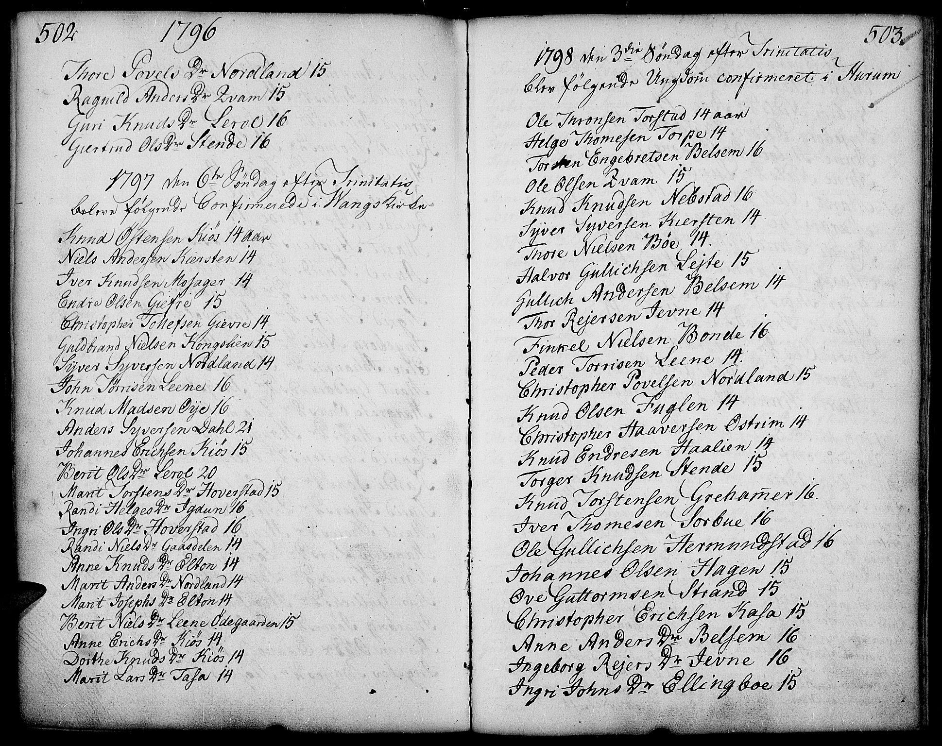 SAH, Vang prestekontor, Valdres, Ministerialbok nr. 2, 1796-1808, s. 502-503