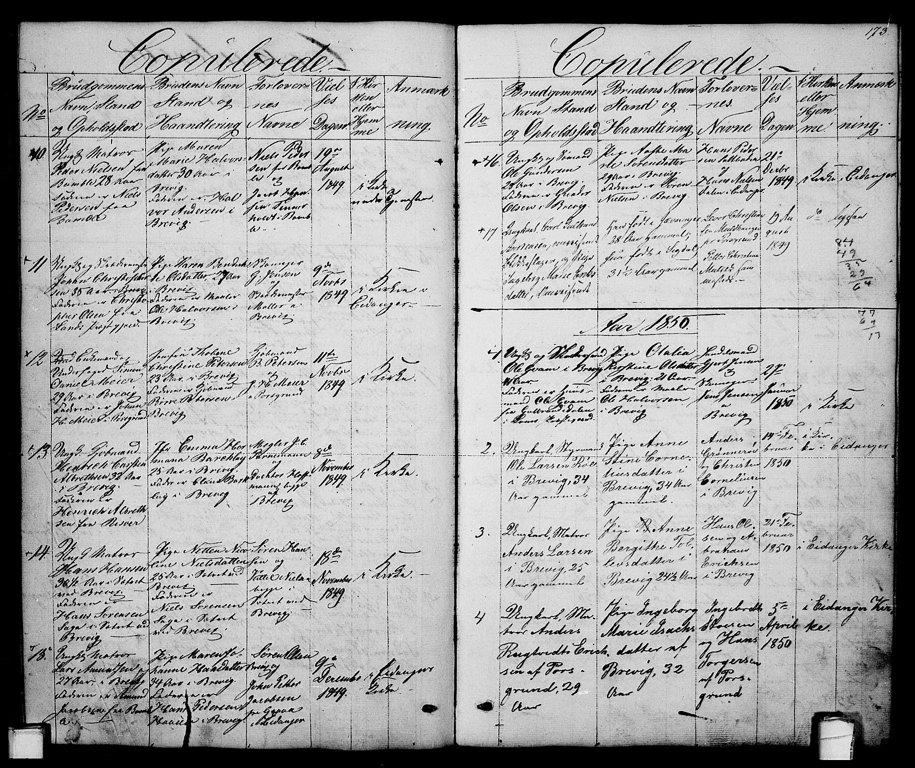 SAKO, Brevik kirkebøker, G/Ga/L0002: Klokkerbok nr. 2, 1846-1865, s. 173