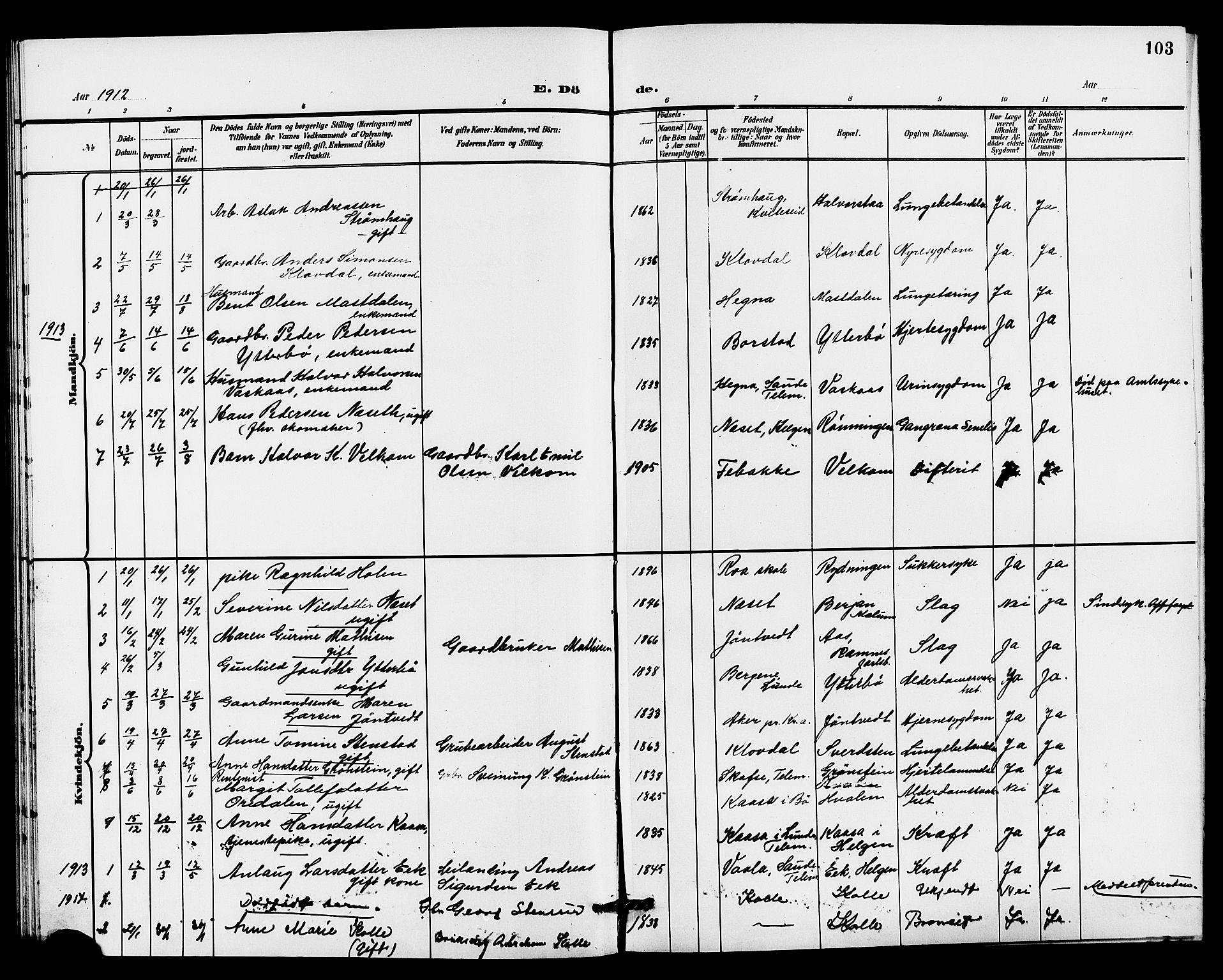 SAKO, Holla kirkebøker, G/Gb/L0002: Klokkerbok nr. II 2, 1897-1913, s. 103
