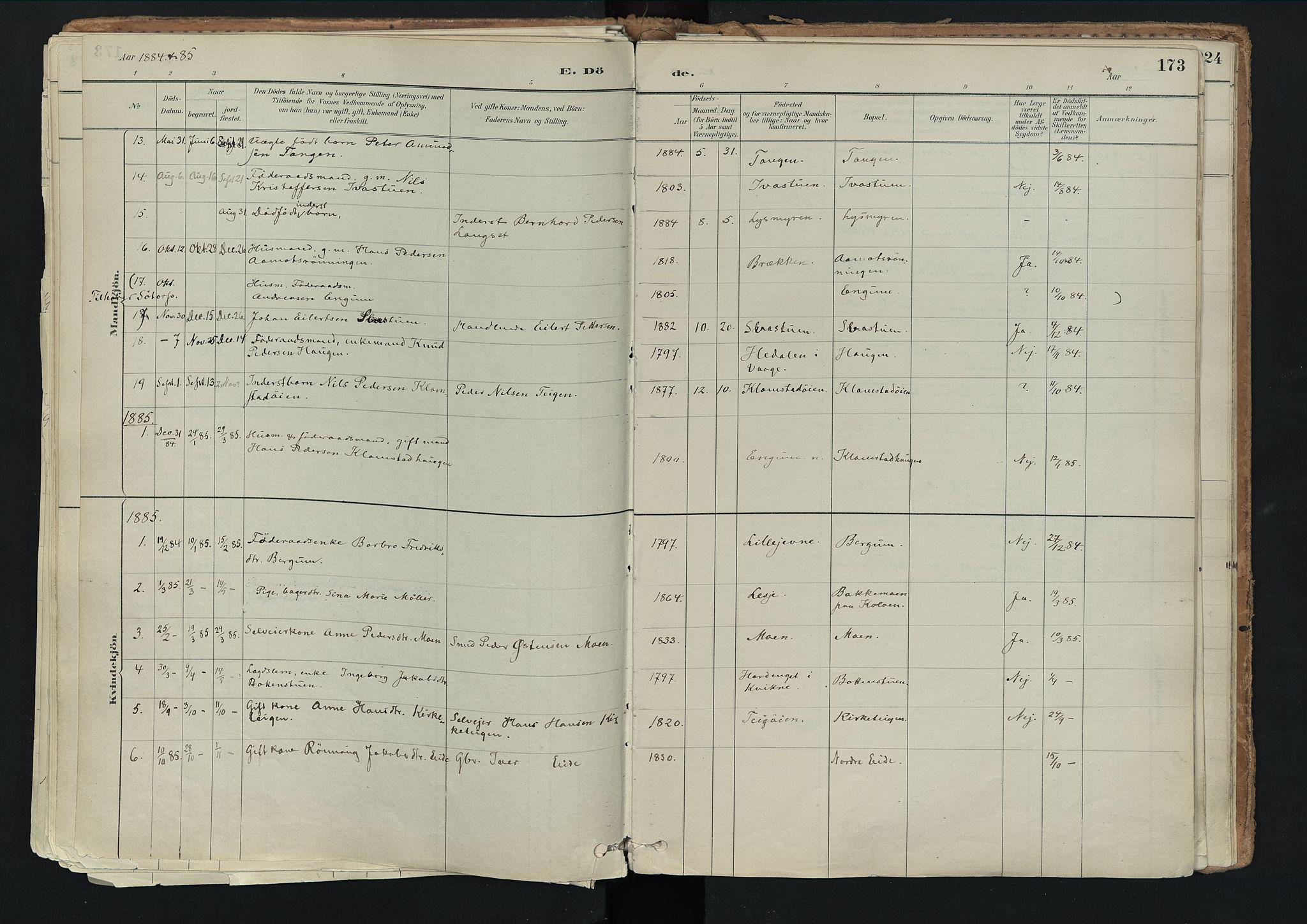 SAH, Nord-Fron prestekontor, Ministerialbok nr. 3, 1884-1914, s. 173