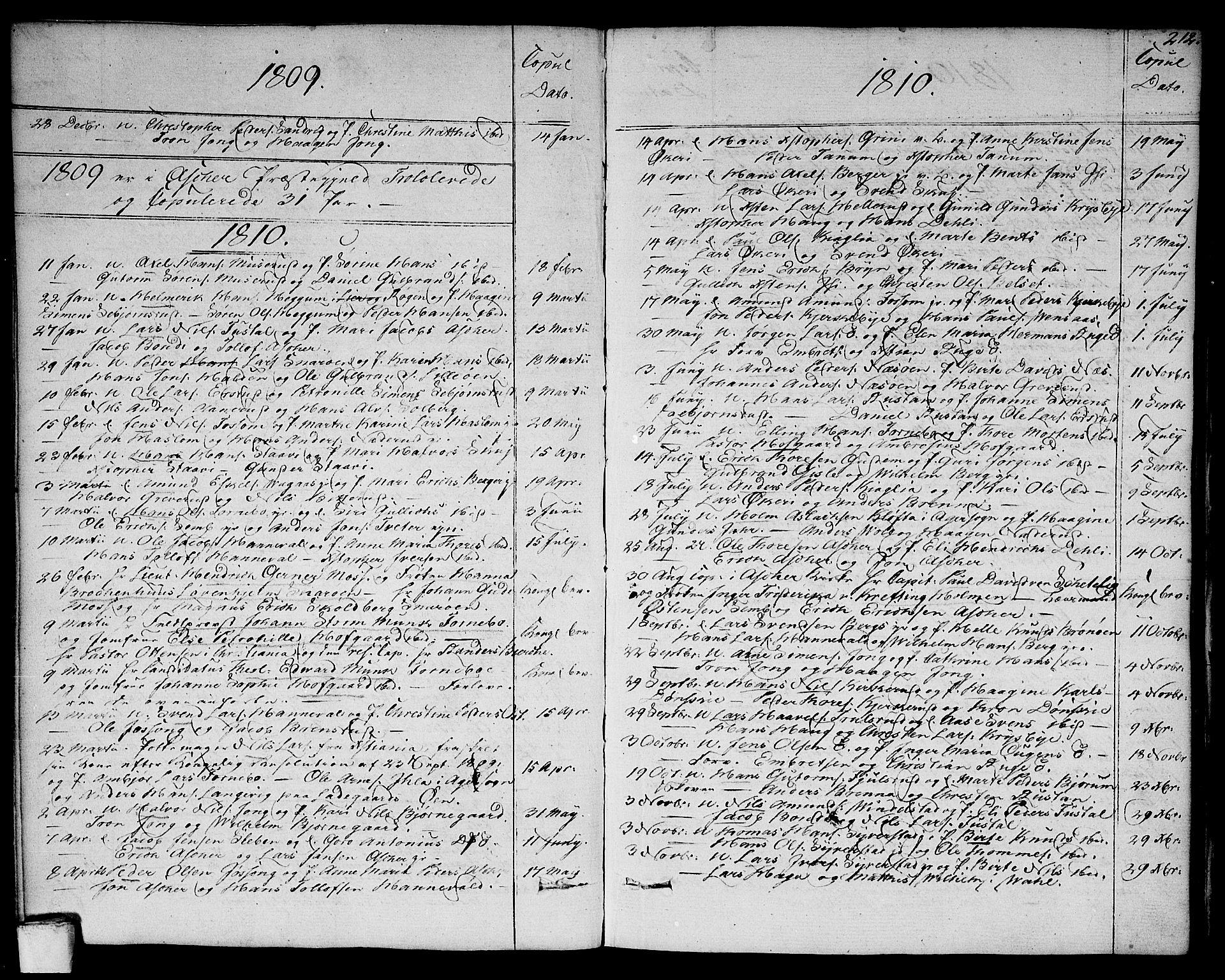 SAO, Asker prestekontor Kirkebøker, F/Fa/L0005: Ministerialbok nr. I 5, 1807-1813, s. 212