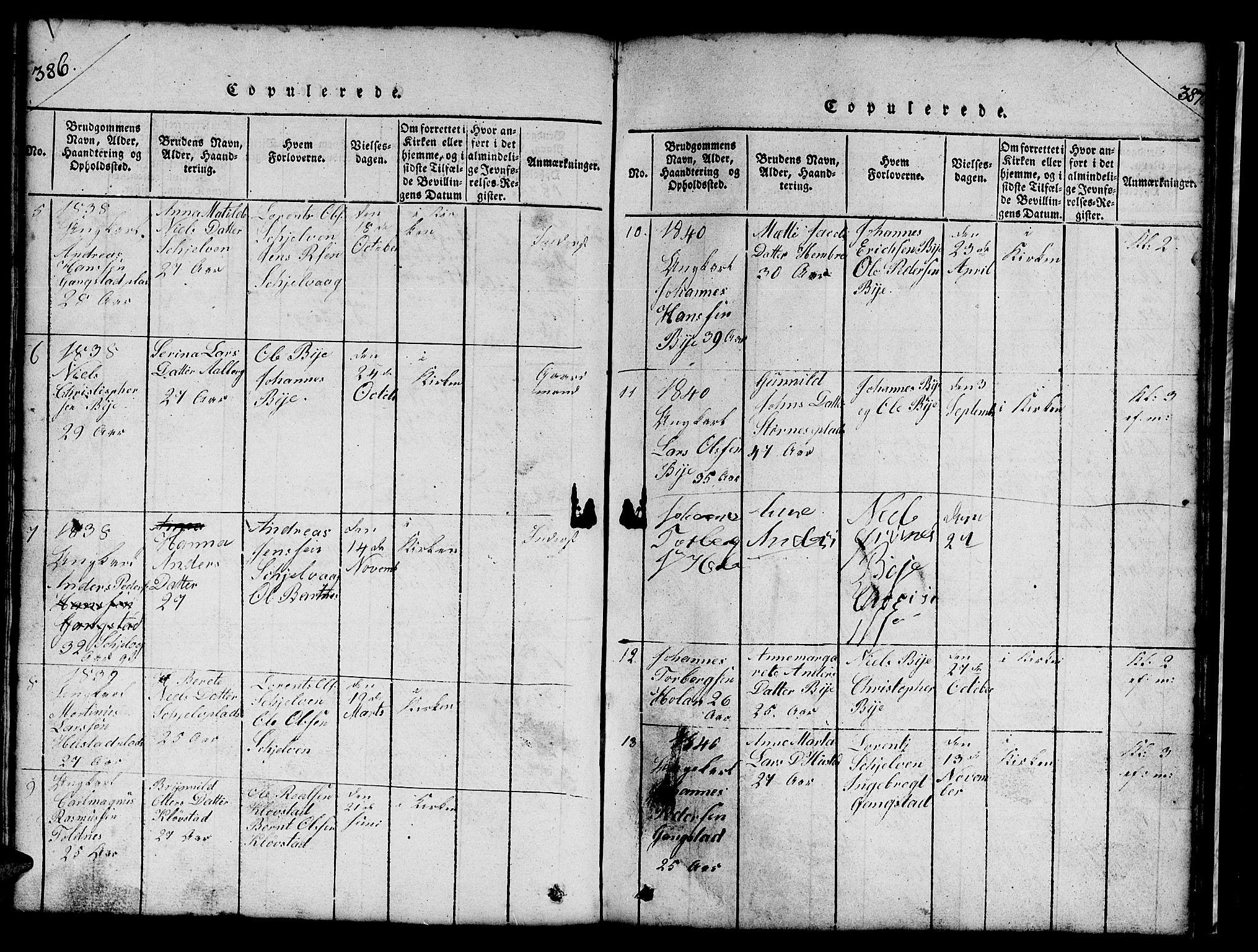 SAT, Ministerialprotokoller, klokkerbøker og fødselsregistre - Nord-Trøndelag, 732/L0317: Klokkerbok nr. 732C01, 1816-1881, s. 386-387
