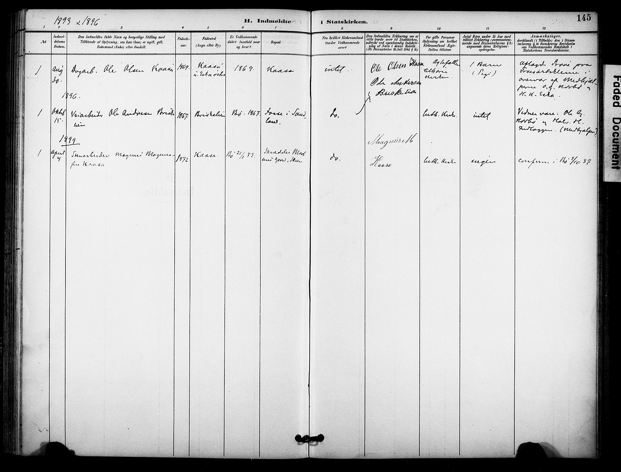 SAKO, Bø kirkebøker, F/Fa/L0011: Ministerialbok nr. 11, 1892-1900, s. 145