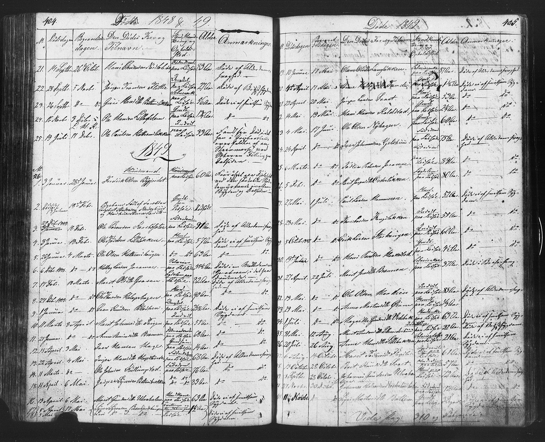 SAH, Lesja prestekontor, Klokkerbok nr. 2, 1832-1850, s. 404-405