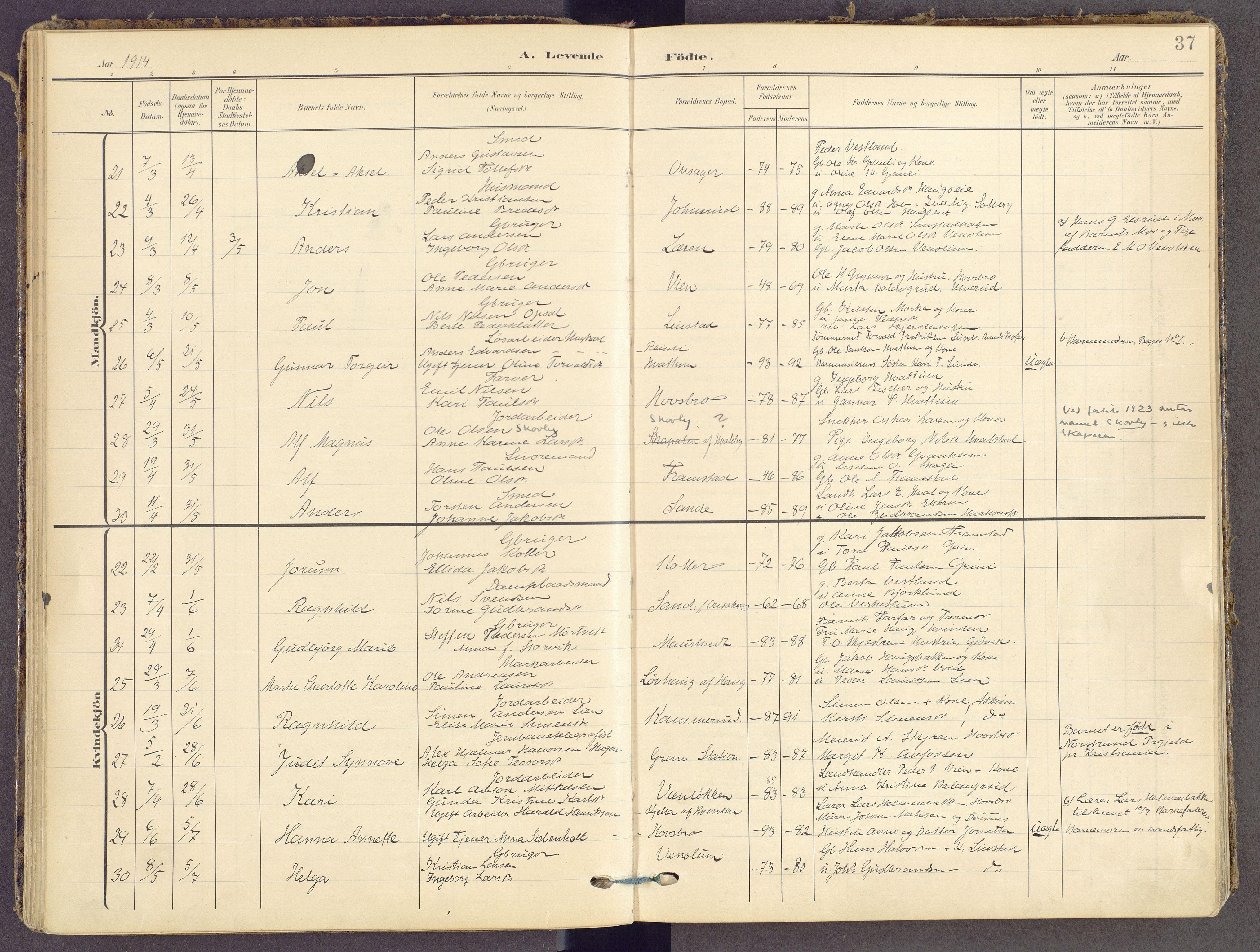 SAH, Gran prestekontor, Ministerialbok nr. 21, 1908-1932, s. 37