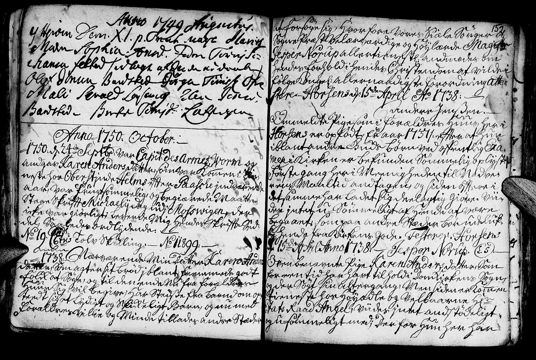 SAT, Ministerialprotokoller, klokkerbøker og fødselsregistre - Nord-Trøndelag, 722/L0215: Ministerialbok nr. 722A02, 1718-1755, s. 152