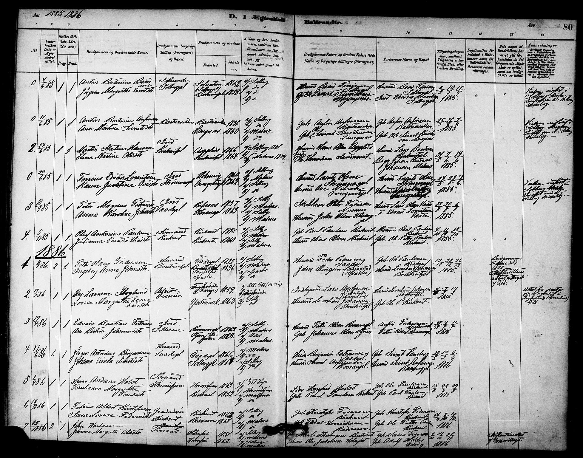 SAT, Ministerialprotokoller, klokkerbøker og fødselsregistre - Nord-Trøndelag, 745/L0429: Ministerialbok nr. 745A01, 1878-1894, s. 80