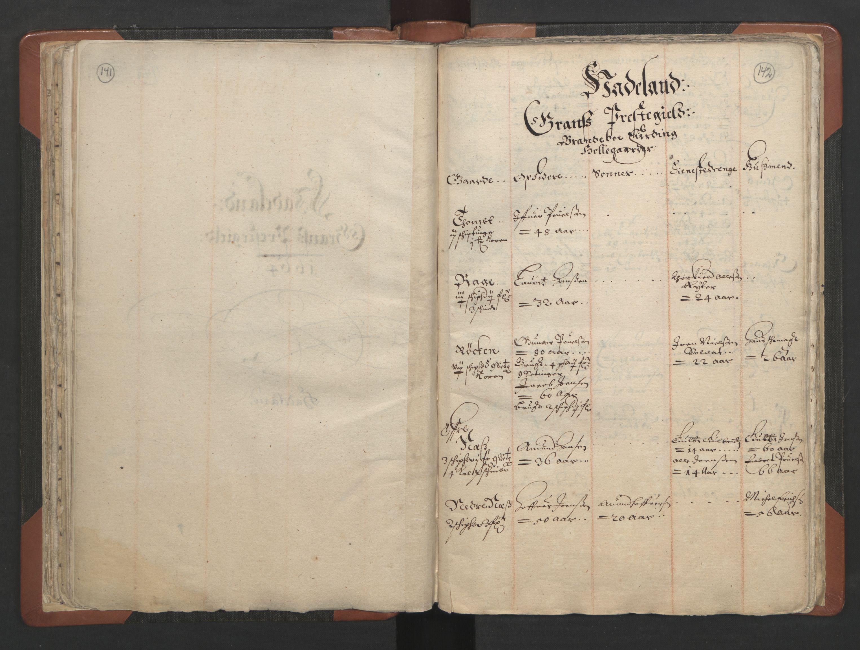 RA, Sogneprestenes manntall 1664-1666, nr. 7: Hadeland prosti, 1664-1666, s. 141-142