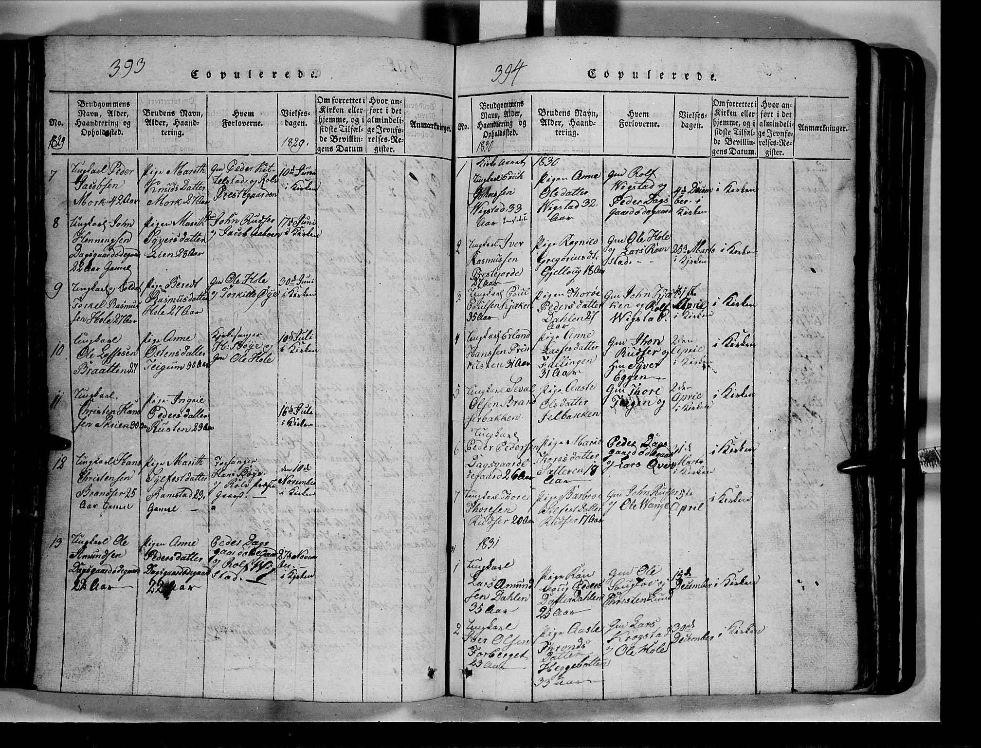 SAH, Lom prestekontor, L/L0003: Klokkerbok nr. 3, 1815-1844, s. 393-394